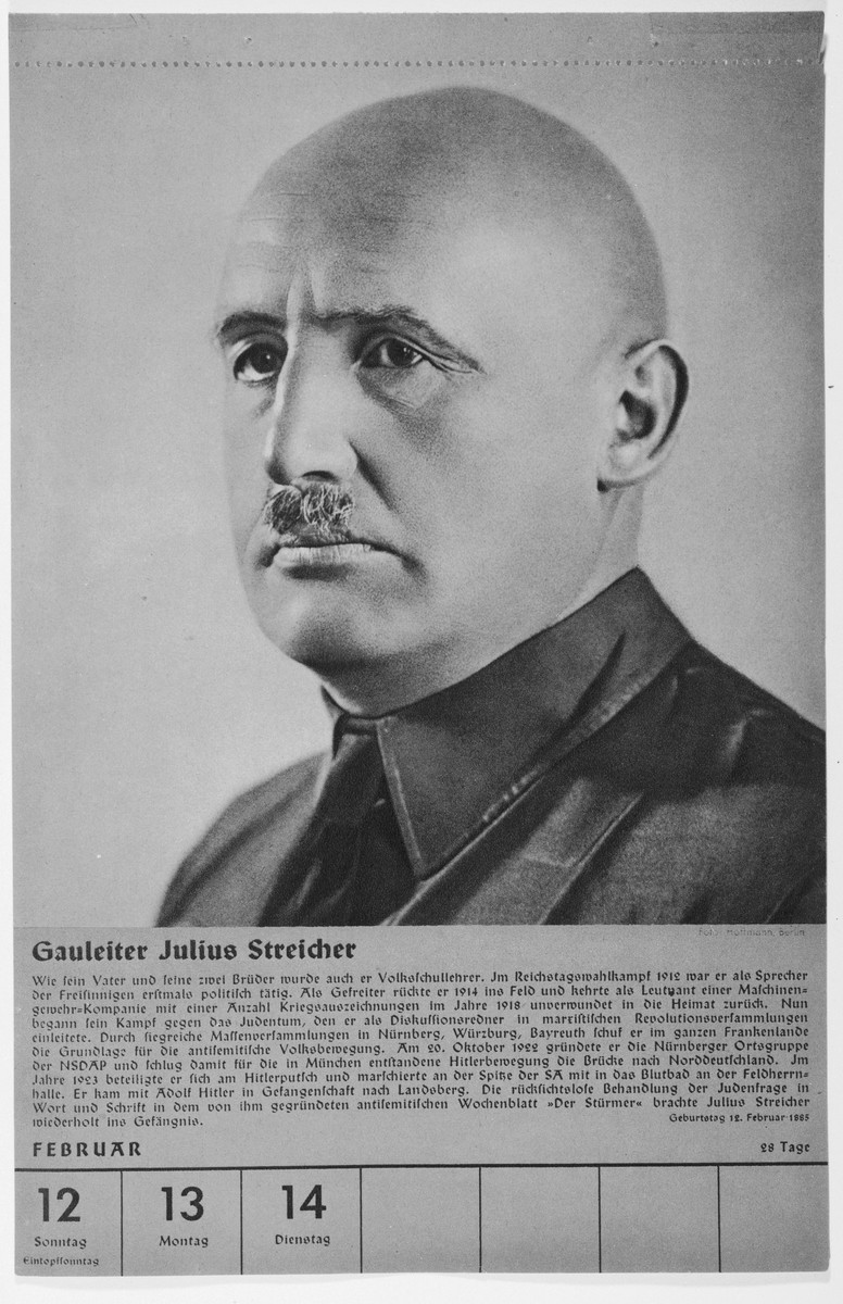 Portrait of Gauleiter Julius Streicher.  One of a collection of portraits included in a 1939 calendar of Nazi officials.