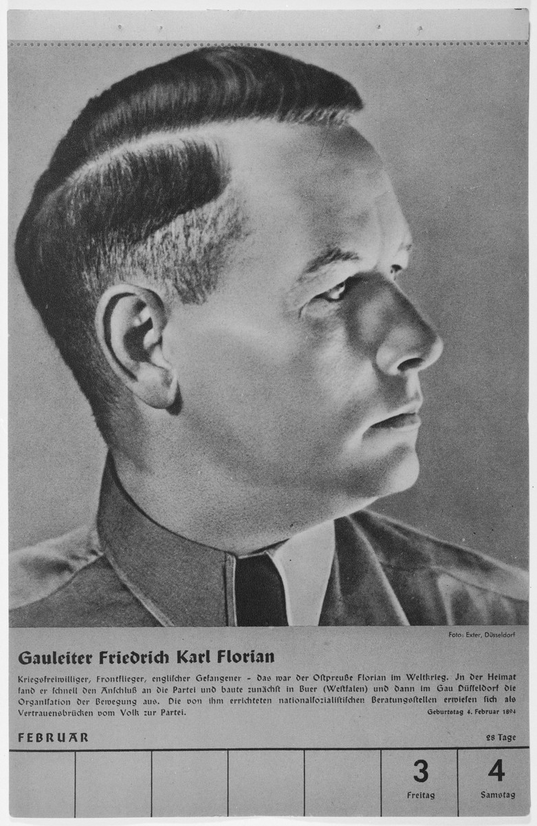Portrait of Gauleiter Friedrich Karl Florian.  One of a collection of portraits included in a 1939 calendar of Nazi officials.