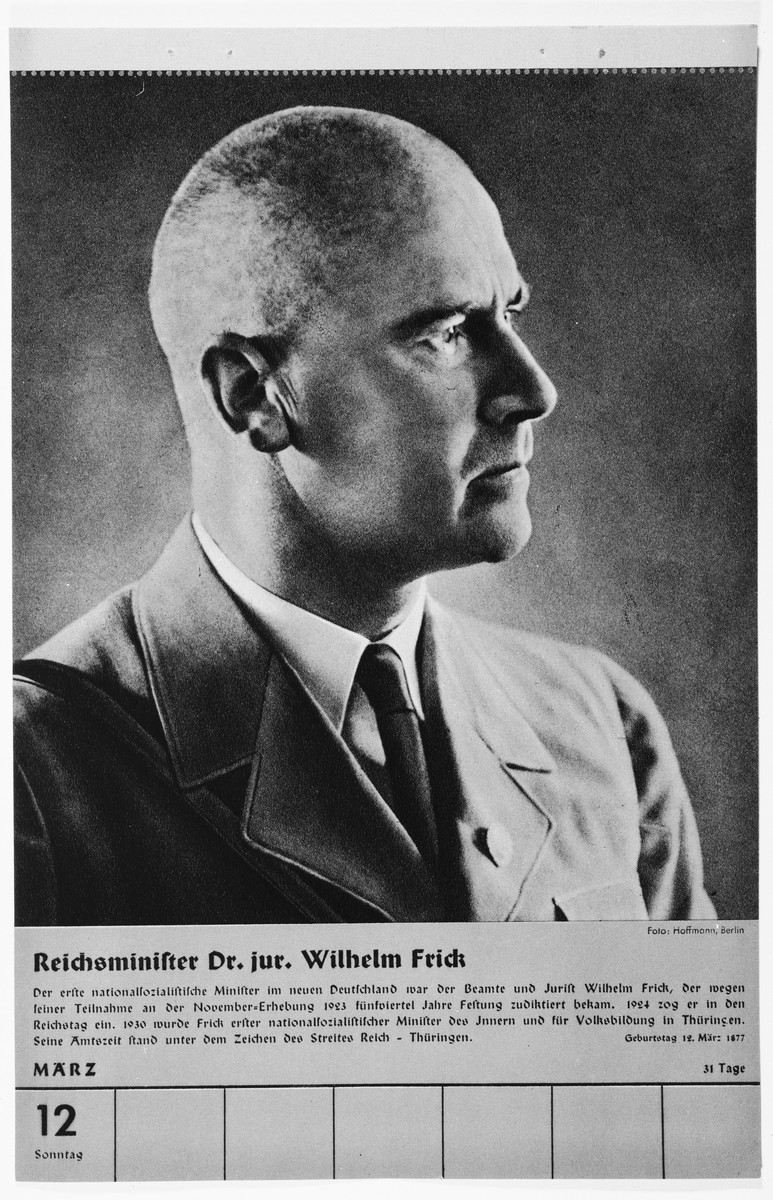 Portrait of Reichsminister Dr. Wilhelm Frick.  One of a collection of portraits included in a 1939 calendar of Nazi officials.