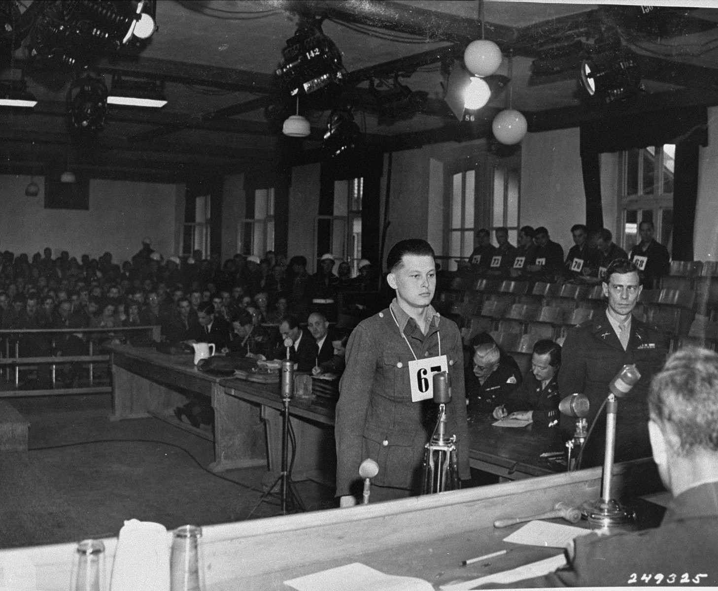 Former SS Lt. Heinz Tomhardt is sentenced to death by hanging by an American Military Tribunal for his part in the Malmedy massacre.