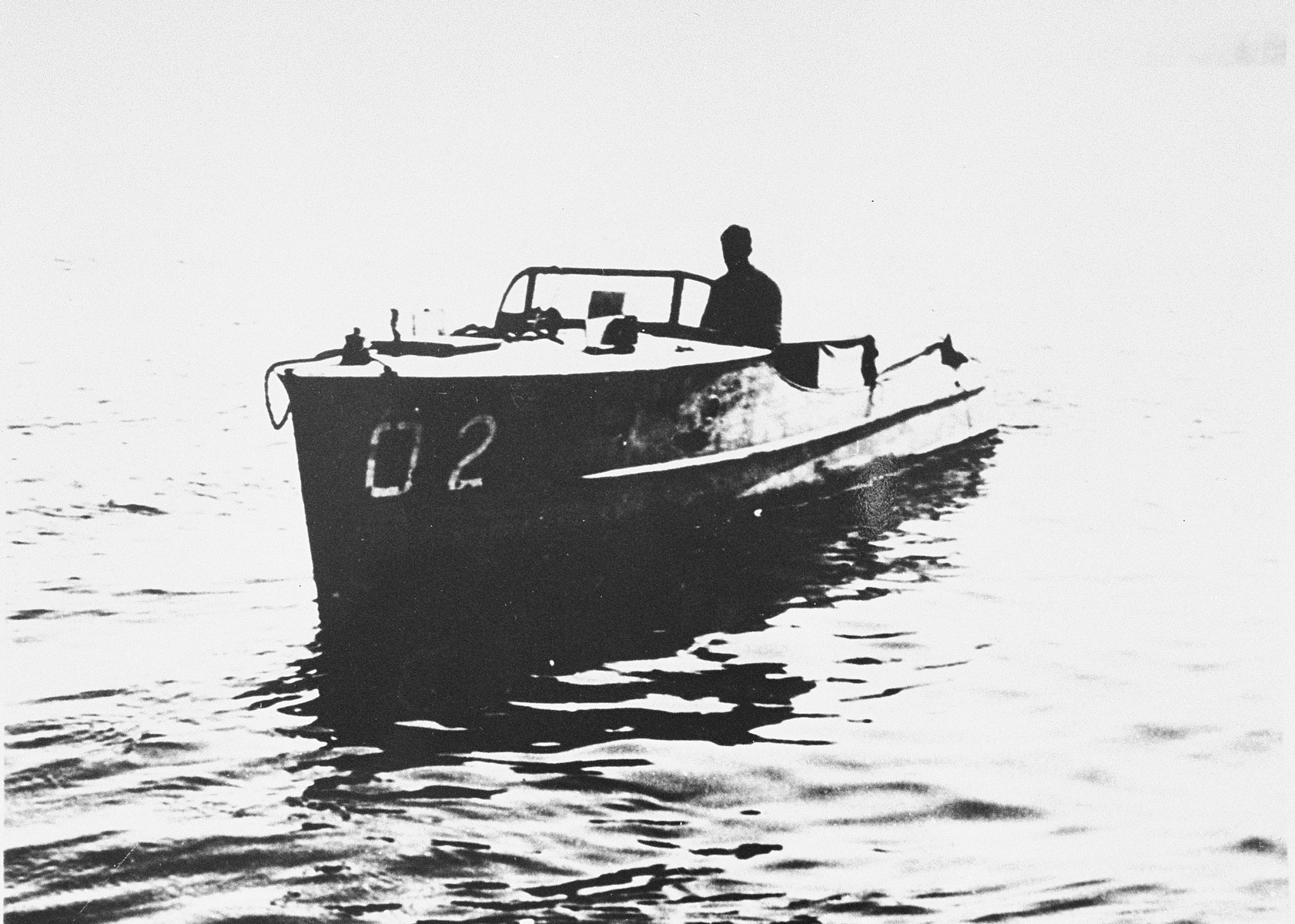 View of a Danish fishing boat that was used in the rescue of Jews during the occupation of Denmark.  Driven by Thormod Larsen, this boat is the one now on display in the permanent exhibition of the United States Holocaust Memorial Museum.