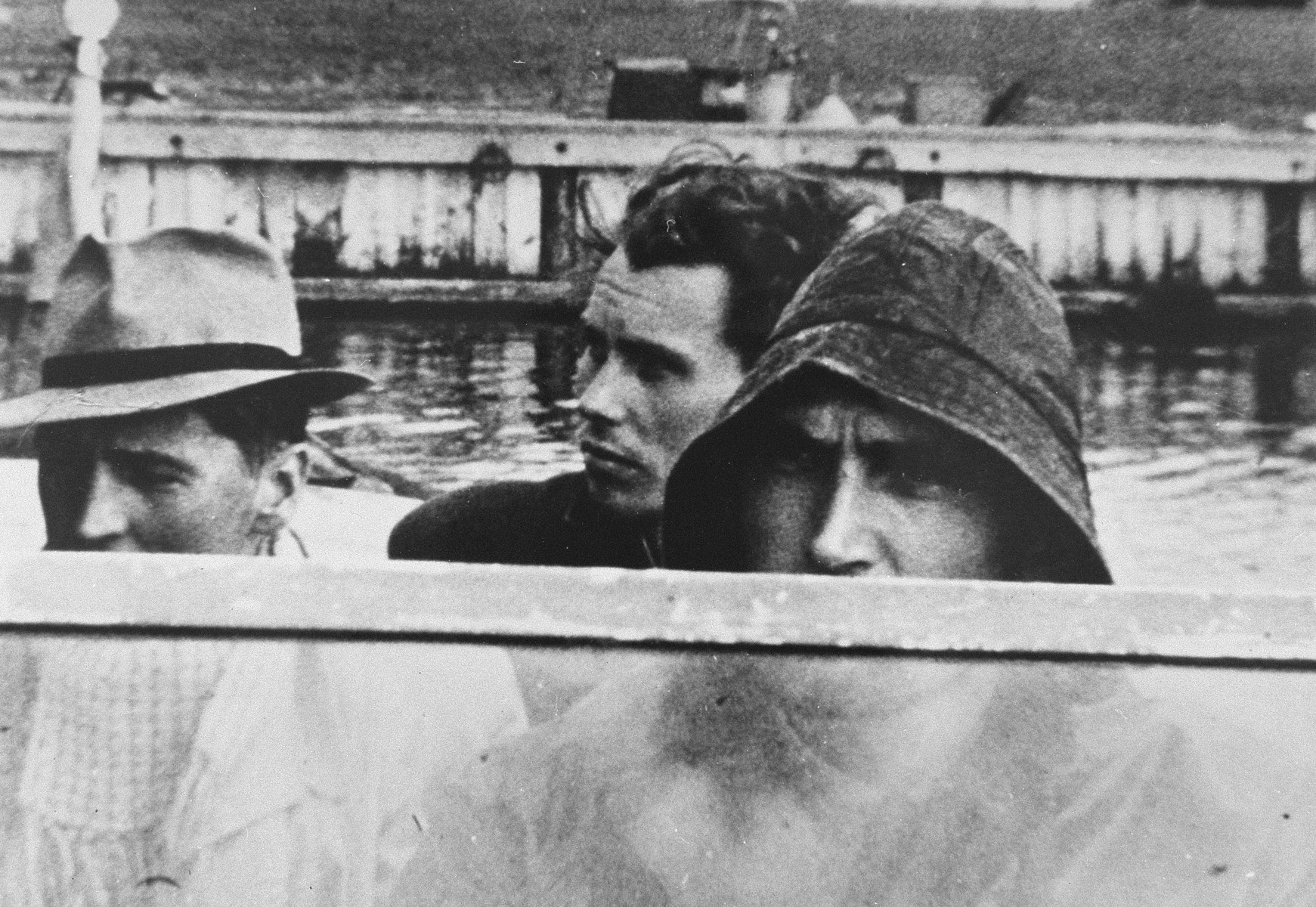 Close-up of Danish rescuers on board a boat.
