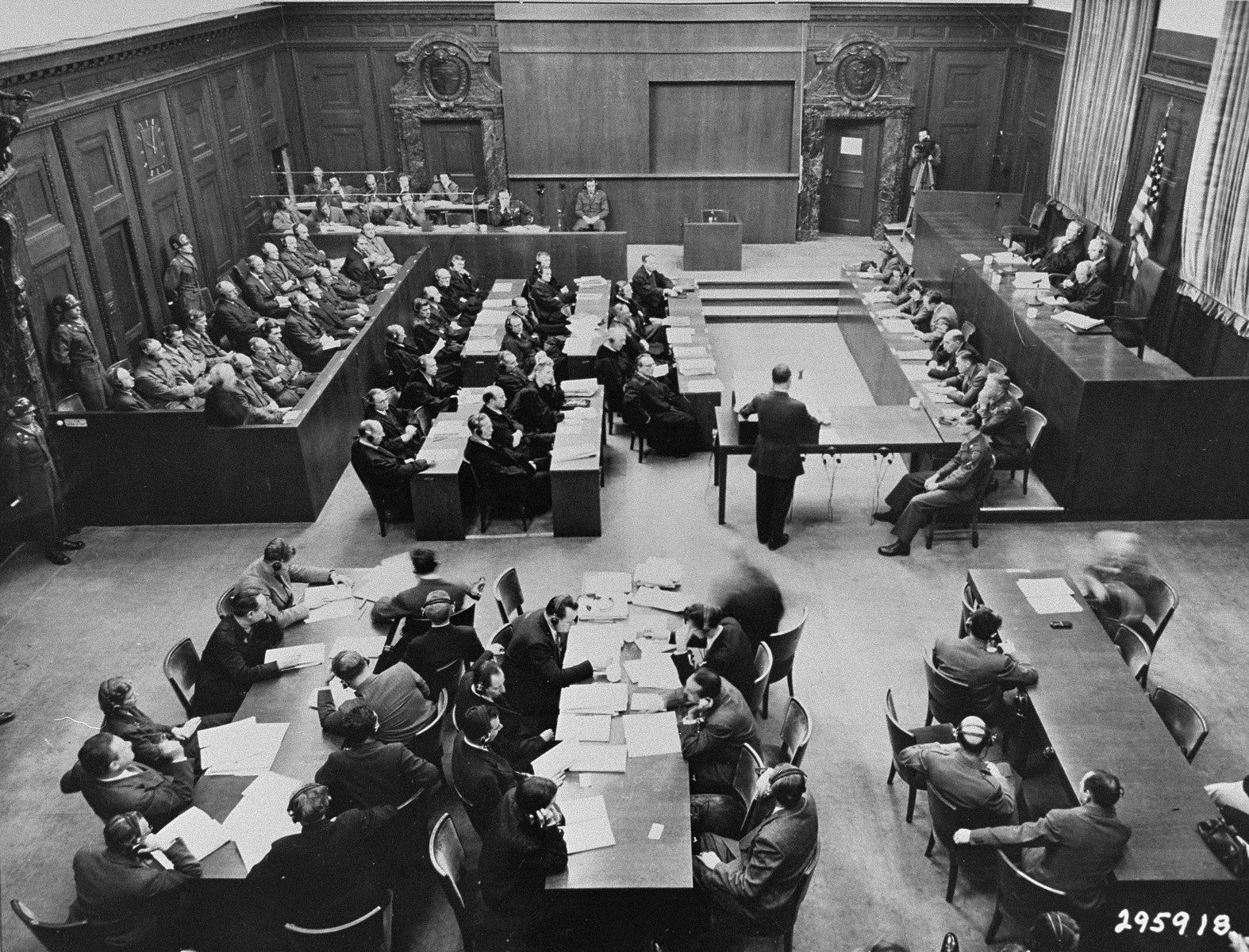 Brigadier General Telford Taylor, the U.S. Chief Counsel, delivers the prosecution's opening statement during the Ministries Trial.