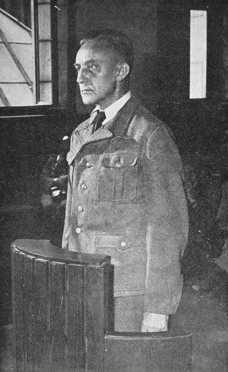 Defendant Juergen Stroop, the former SS general responsible for suppressing the Warsaw Ghetto uprising, in the witness box during his trial.