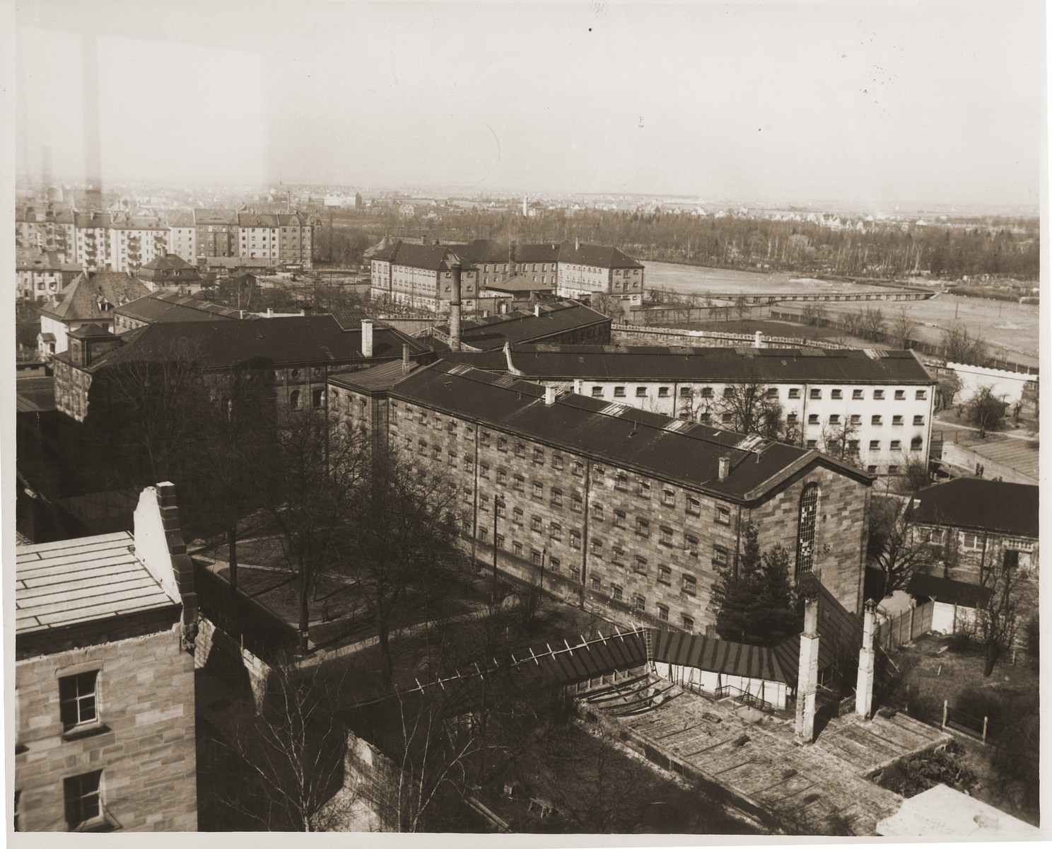 Aerial view of the Nuremberg prison, where the defendants in the International Military Tribunal war crimes trial were confined.