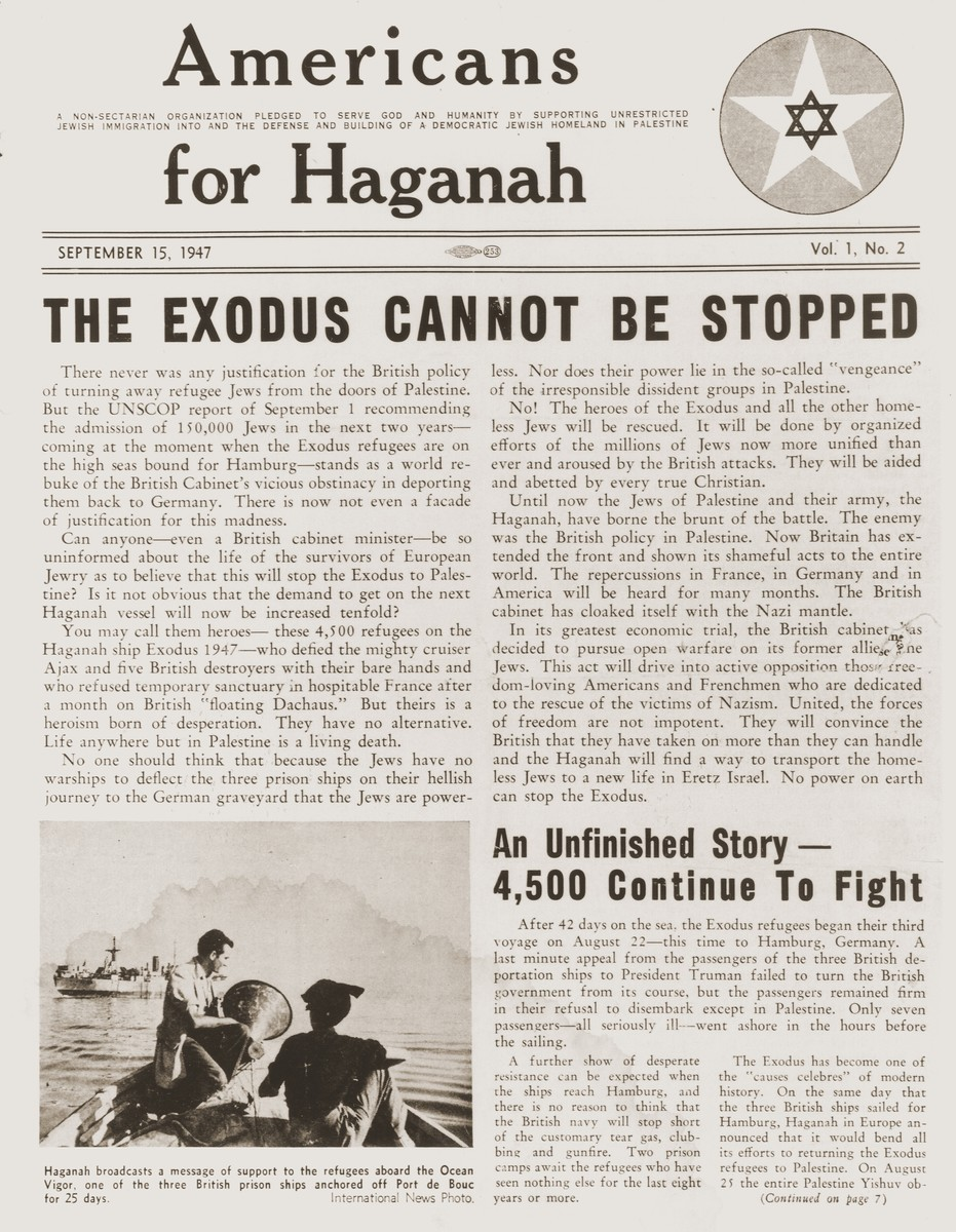 "Front page of the American Zionist newspaper, ""Americans for Haganah"" of September 15, 1947, featuring articles about the Exodus 1947."