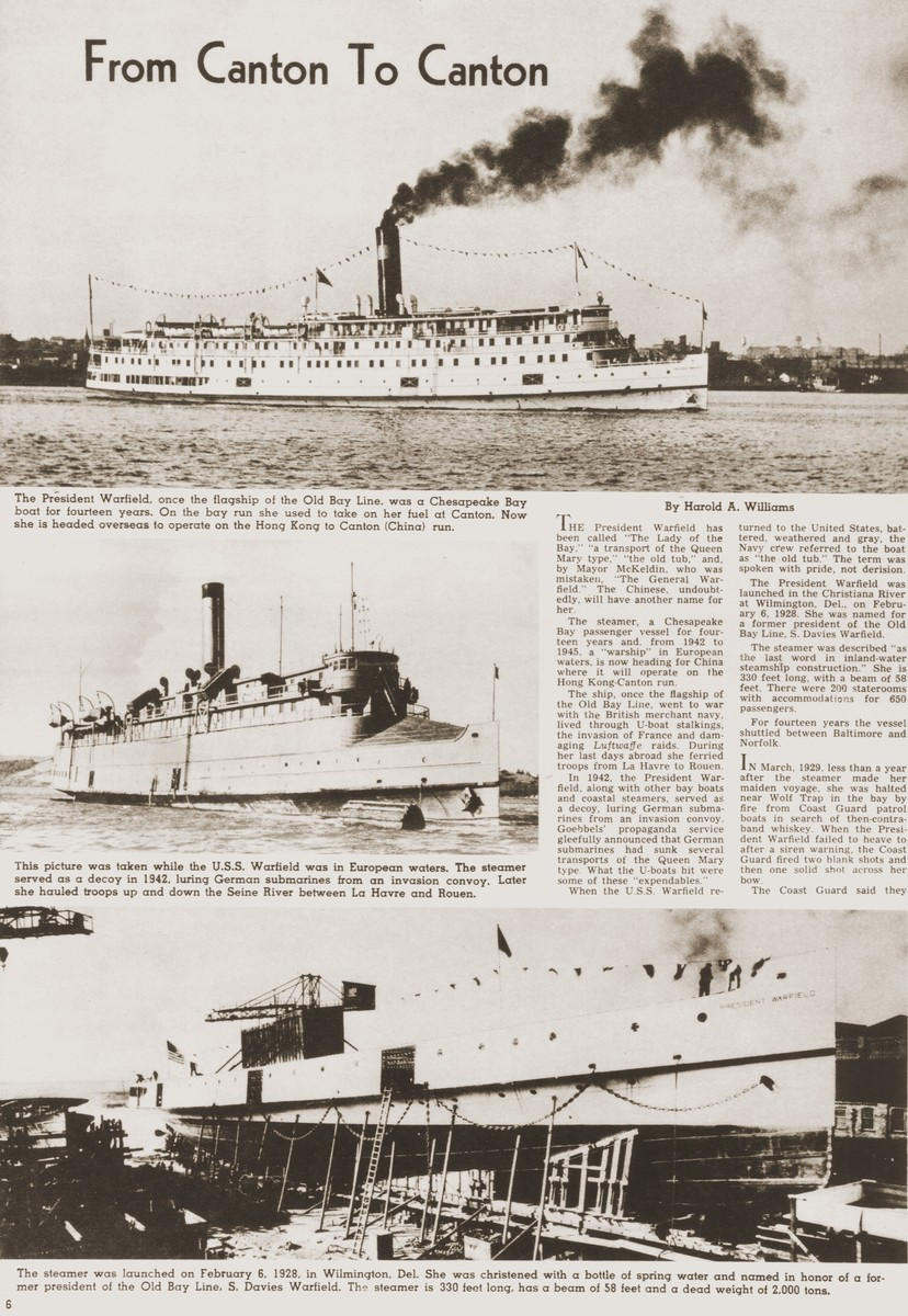 Illustrated Balltimore Sun newspaper article about the refurbishing of the SS President Warfield, an American steamer of the Old Bay Line.  The ship was later purchased by the Haganah to transport illegal Jewish immigrants from Europe to Palestine and renamed the Exodus 1947.