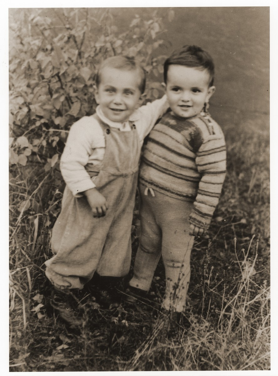 Toddlers Benjamin Trzcina and Benjamin Finklestein in the Lechfeld displaced persons camp.  Gerzon Trzcina was born in Krasnosielc, Poland in 1922.  He was the son of Dina Kassel and Benam Yitzhak, who was a businessman in the leather trade.  Gerzon had one older brother, Jacob, and two sisters, Faiga (b. 1918) and Perl (b. 1920).  When the war broke out, Gerzon was working as a photographer's assistant (among other jobs) in Warsaw.  Following the German invasion of September, 1939, Gerzon was slightly wounded by shrapnel.  Soon after, a drunken German soldier, forcibly cut Gerzon's hair.  When the soldier made him stoop down to pick up the cuttings, Gerzon grabbed the German's gun and ran away.  After a short time in hiding, Gerzon returned to his hometown, where he learned that eighty Jews had been murdered in the synagogue during the first week of the war in one of the first large-scale atrocities against Polish Jews.  Among those killed was Gerzon's eighty-two-year-old grandfather, Haskel Kassel.  Gerzon moved on to Makow Mazowiecki, where he was forced to clean the stables the Germans had set up in the town's synagogue.  In the late fall, Gerzon escaped with his family to Bialystok, where he worked in a tannery until the family was deported to the Soviet interior in June, 1940.  Along with a group of Polish and Jewish refugees, the Trzcinas were sent to the Kiltovo labor camp in northern Russia.  Harsh conditions and poor nutrition led to Gerzon's father's death in the camp.  The family remained in Kiltovo until the German invasion of the Soviet Union in June of 1941.  Soon after, the refugees were allowed to leave the camp, and the Trzcinas moved to nearby Syktyvkar (capital of the Komi republic), where Gerzon worked in a construction company and later in a tannery.  In Syktyvkar, Gerzon was reunited with Gittel Blankitner, a Jewish refugee from Mlawa, whom he had met earlier in his travels in the Soviet Union.  (Gittel's father perished in Aushwitz, and her mother and siblings were killed in Treblinka.) In November, 1944, Gerzon and Gittel were married. The couple left the Soviet Union with their new baby in 1946.  Returning for a brief time to Poland, the family soon joined the wave of survivors streaming toward the Western zones of occupation.  After their arrival in Germany, the Trzcinas stayed in several DP camps including Vilseck, Wurzburg and Lechfeld, where Gerzon worked as an UNRRA photographer.  In March 1951, the family immigrated to the United States.