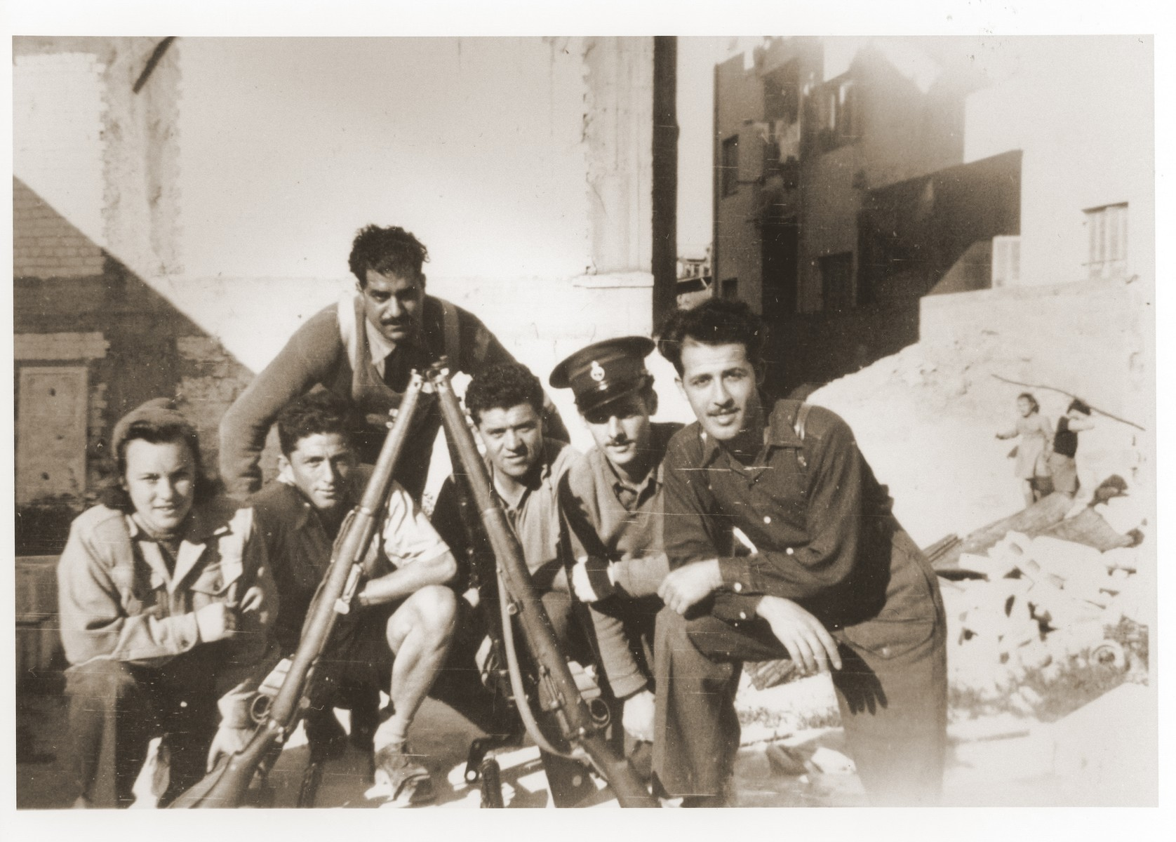 Members of a Haganah unit pose with their rifles.  Among those pictured is Saba Fiszman.