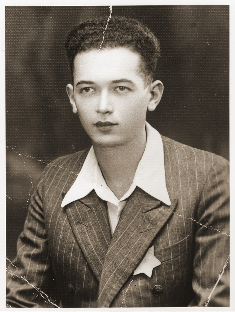 Portrait of a young Romanian Jew wearing the yellow star on the day before he was deported to Transnistria.  Pictured is Moissi Brandmann.