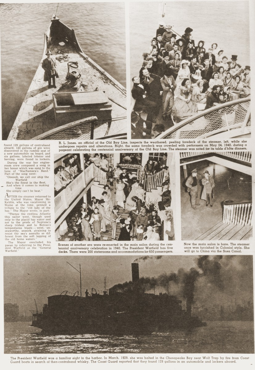 Illustrated newspaper article about the refurbishing of the SS President Warfield, an American steamer of the Old Bay Line.  The ship was later purchased by the Haganah to transport illegal Jewish immigrants from Europe to Palestine and renamed the Exodus 1947.