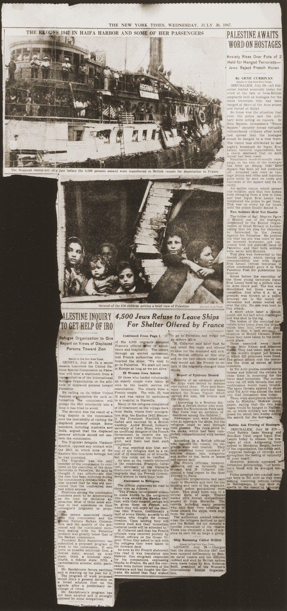 "Inside page of The New York Times of Wednesday, July 30, 1947 featuring an article about the return of the Exodus 1947 to Europe entitled, ""4,500 Jews Refuse to Leave Ships for Shelter Offered by France."""