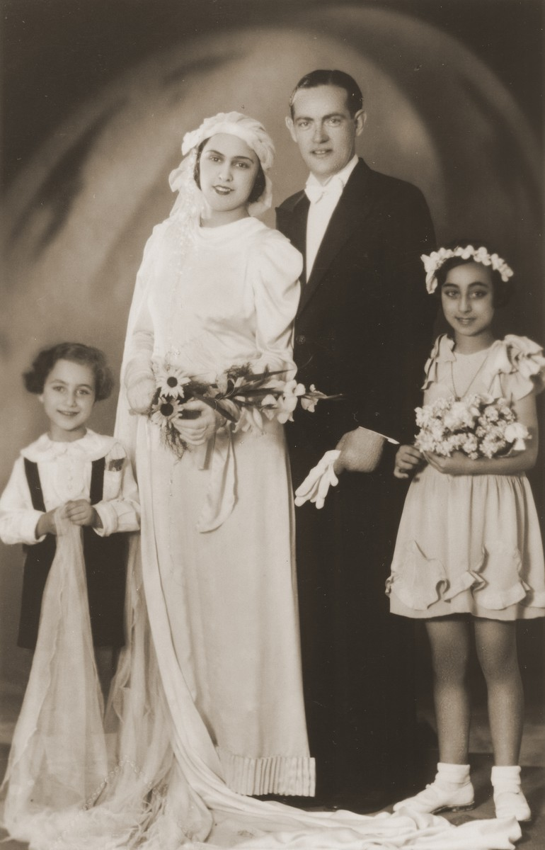 Wedding portrait of a Jewish couple in Salonika.    All those pictured perished in Auschwitz.