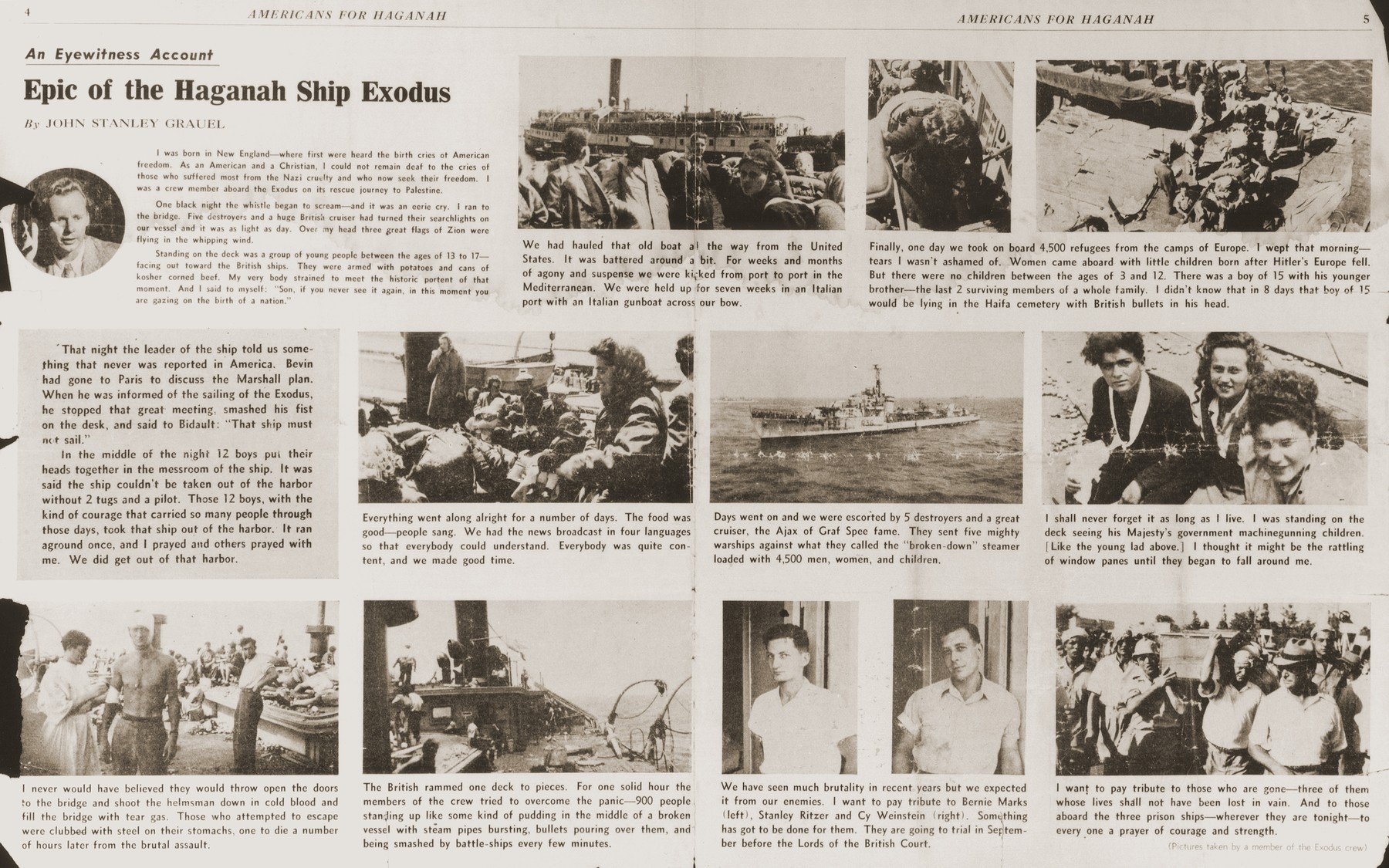 """Inside page of the American Zionist newspaper, """"Americans for Haganah"""" of September 15, 1947, featuring an illustrated eyewitness account of the Exodus 1947 by one of its crewmen, John Stanley Grauel."""