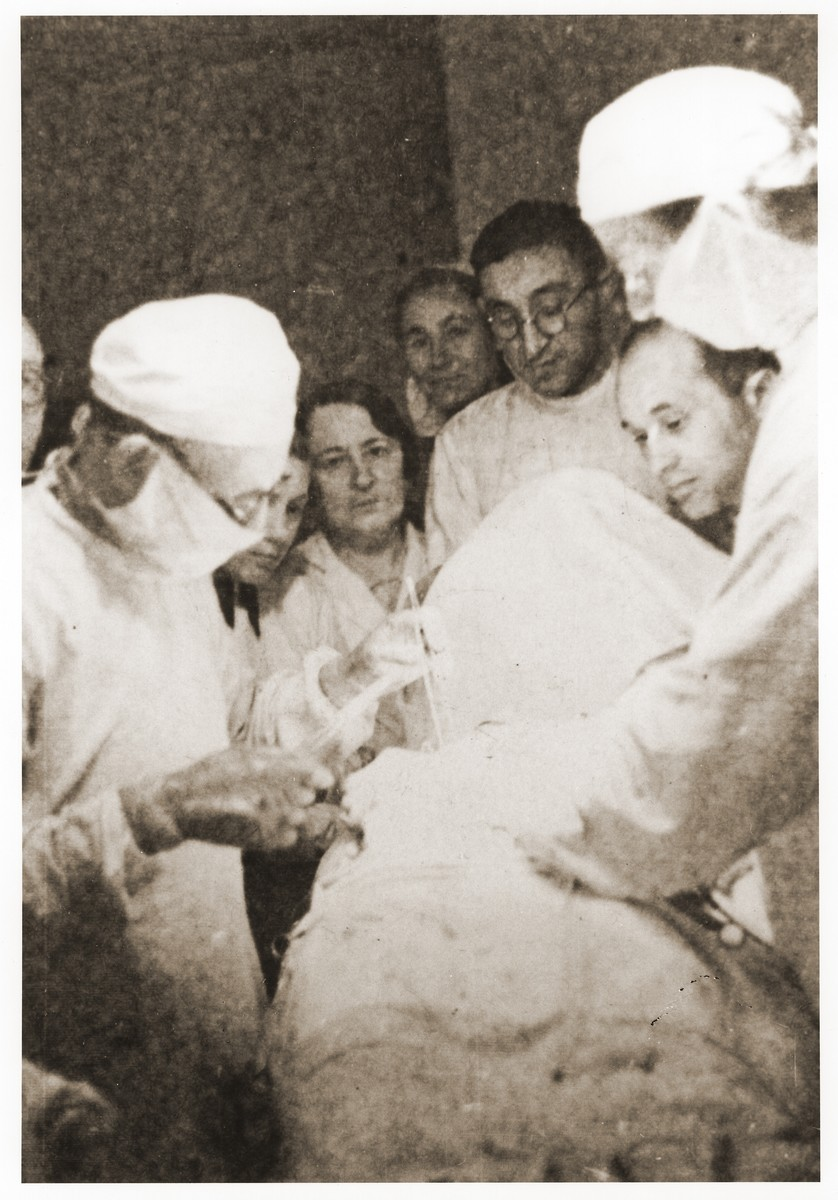 Dr. Michal Eliasberg performs surgery in the Lodz ghetto hospital.