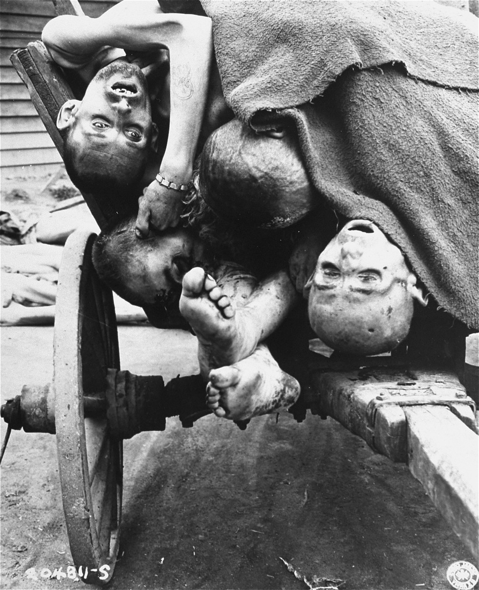 A cart laden with the bodies of prisoners who perished in the Gusen concentration camp.
