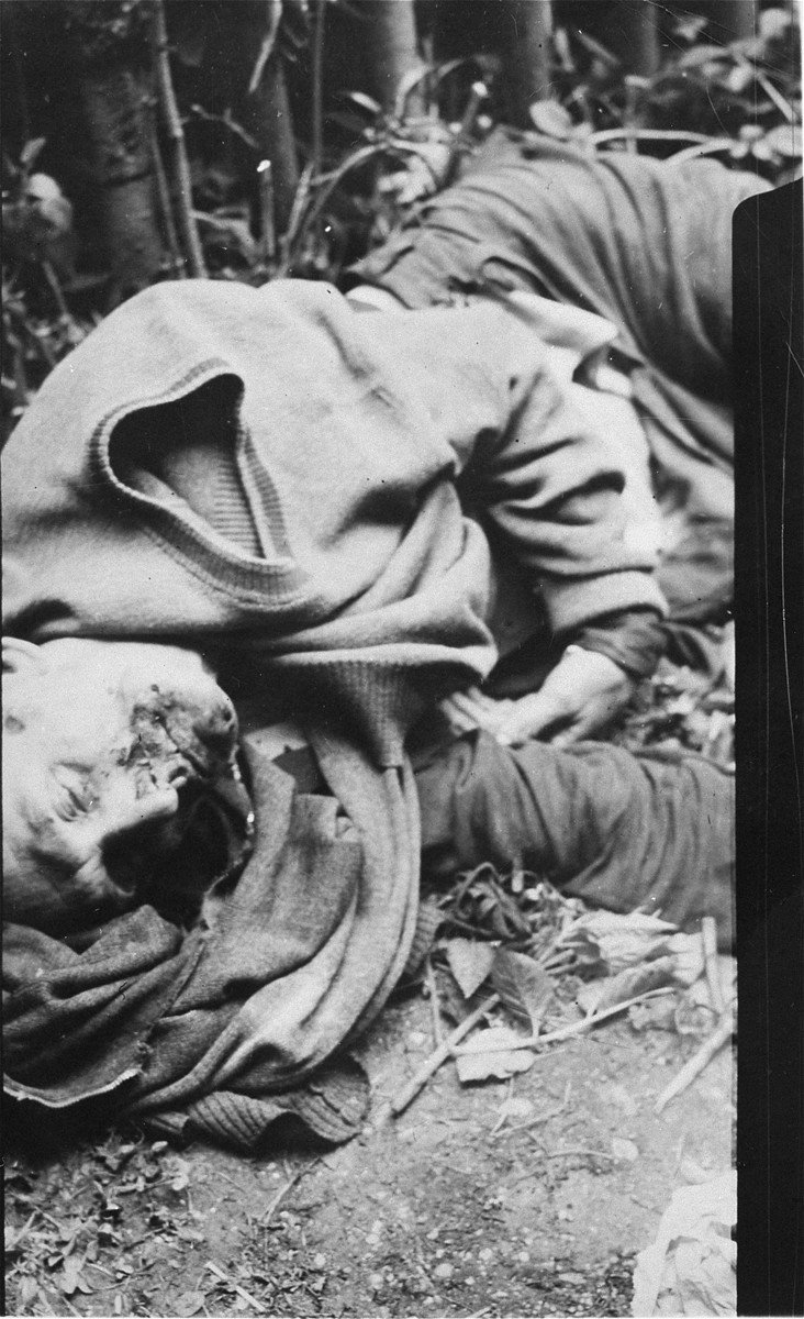 The corpse of a guard killed by prisoners.