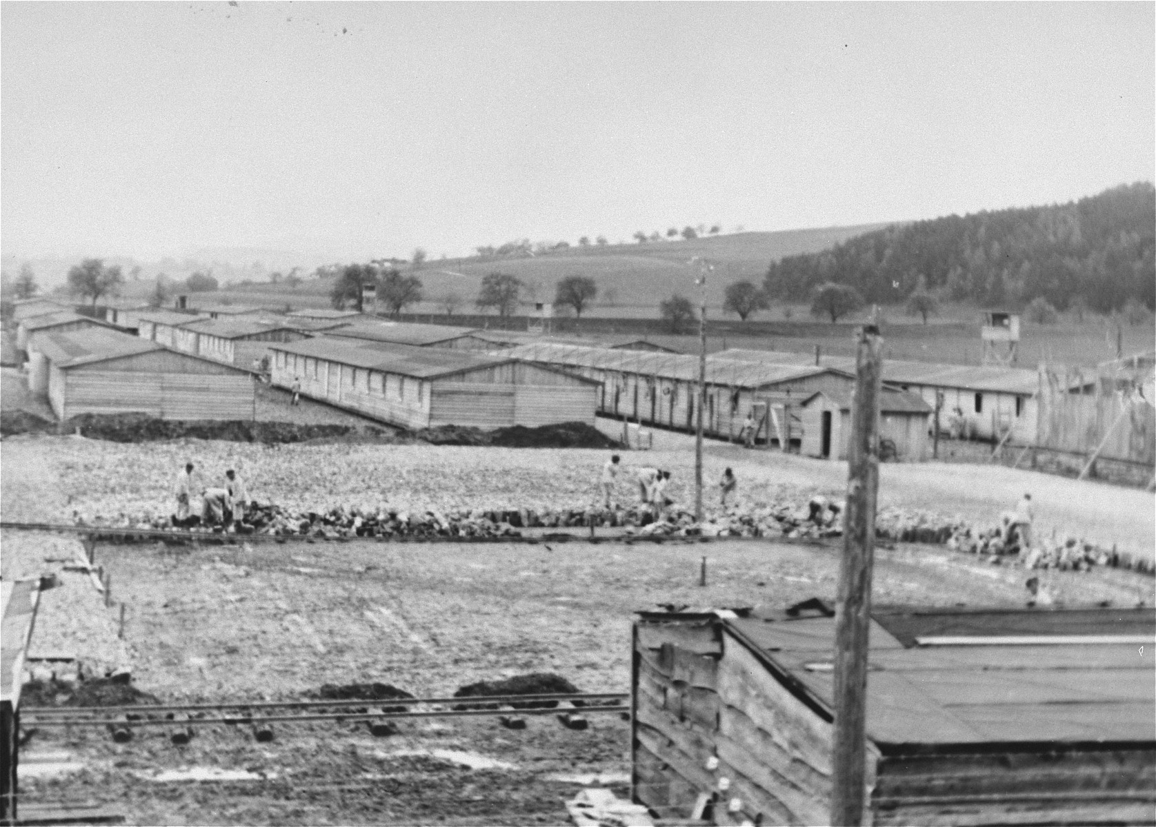 View of the construction of the Gusen I concentration camp