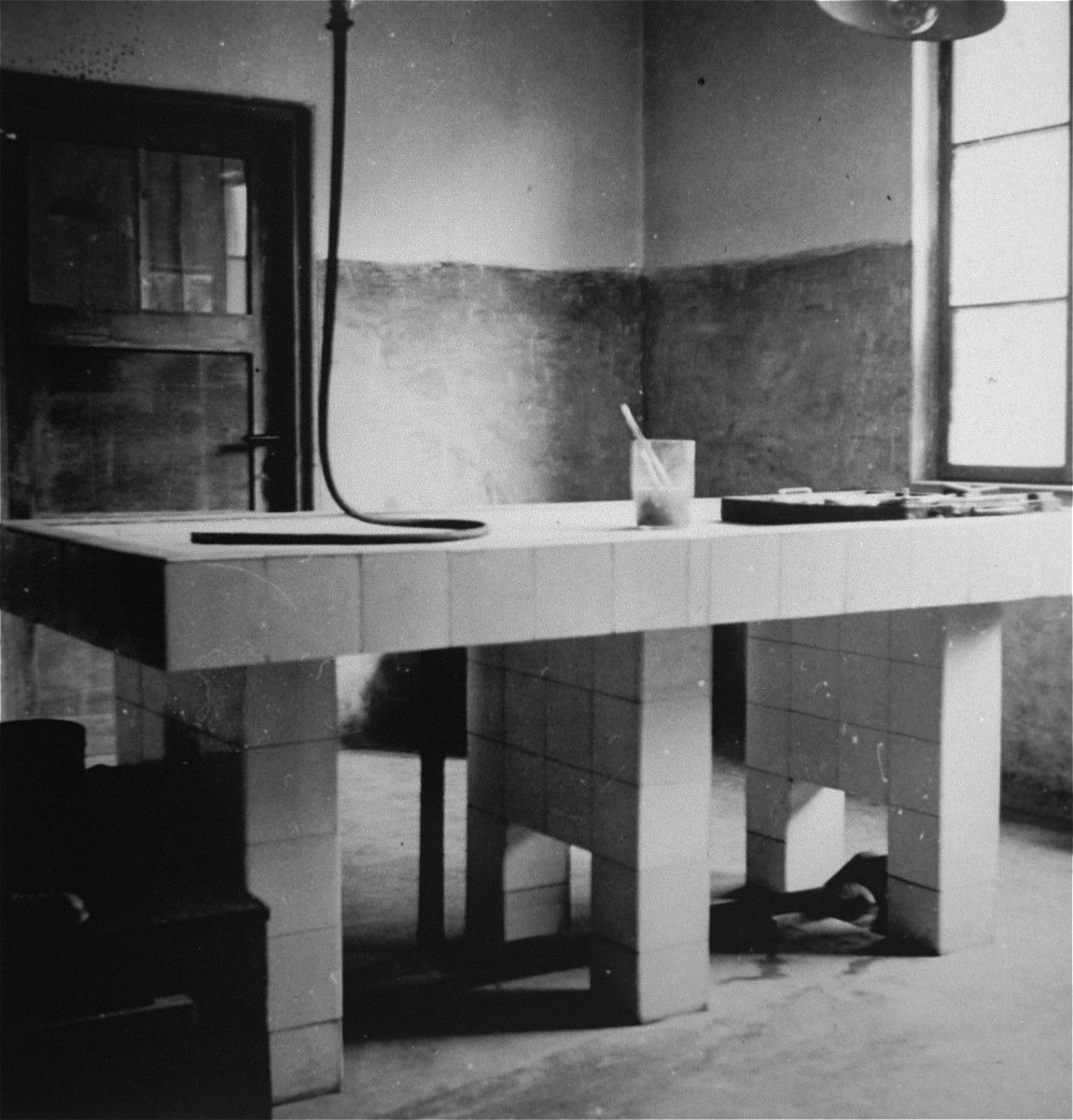An operating or disecting table in the Ebensee concentration camp.