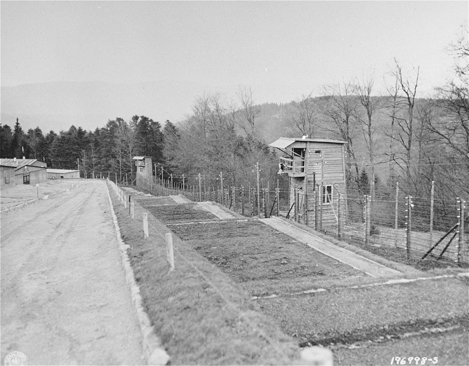View of a section of the perimeter of the Natzweiler-Struthof concentration camp.