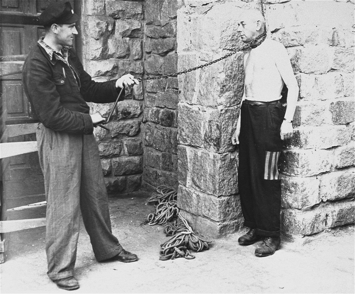 Prisoners' demonstrate a typical form of punishment employed by the SS in Gusen.