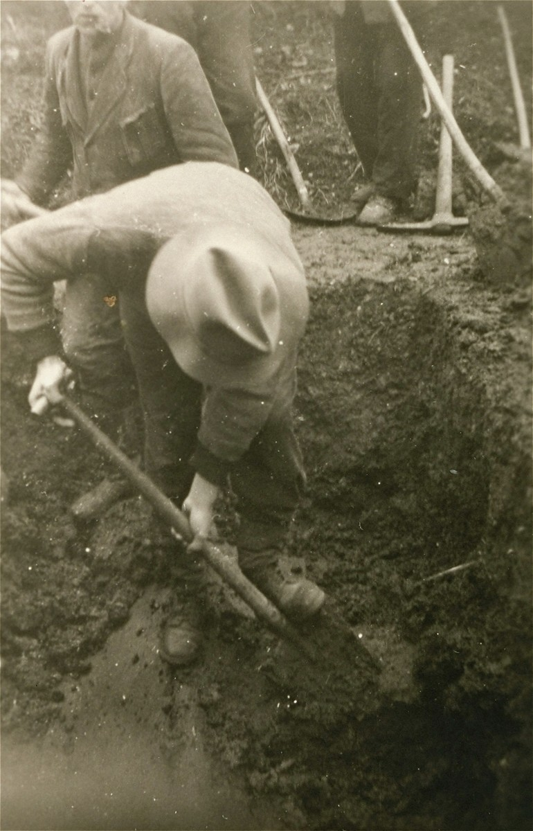 Austrian civilians are forced to dig graves for corpses found in Ebensee.