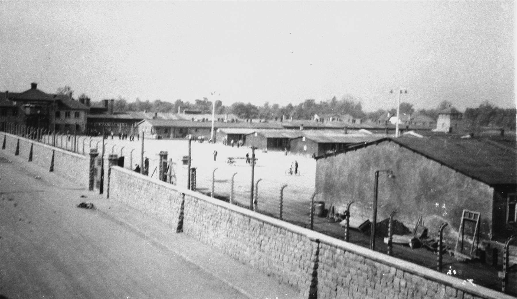 View of the main gate and Appellplatz (inspection square) at the Gusen concentration camp.