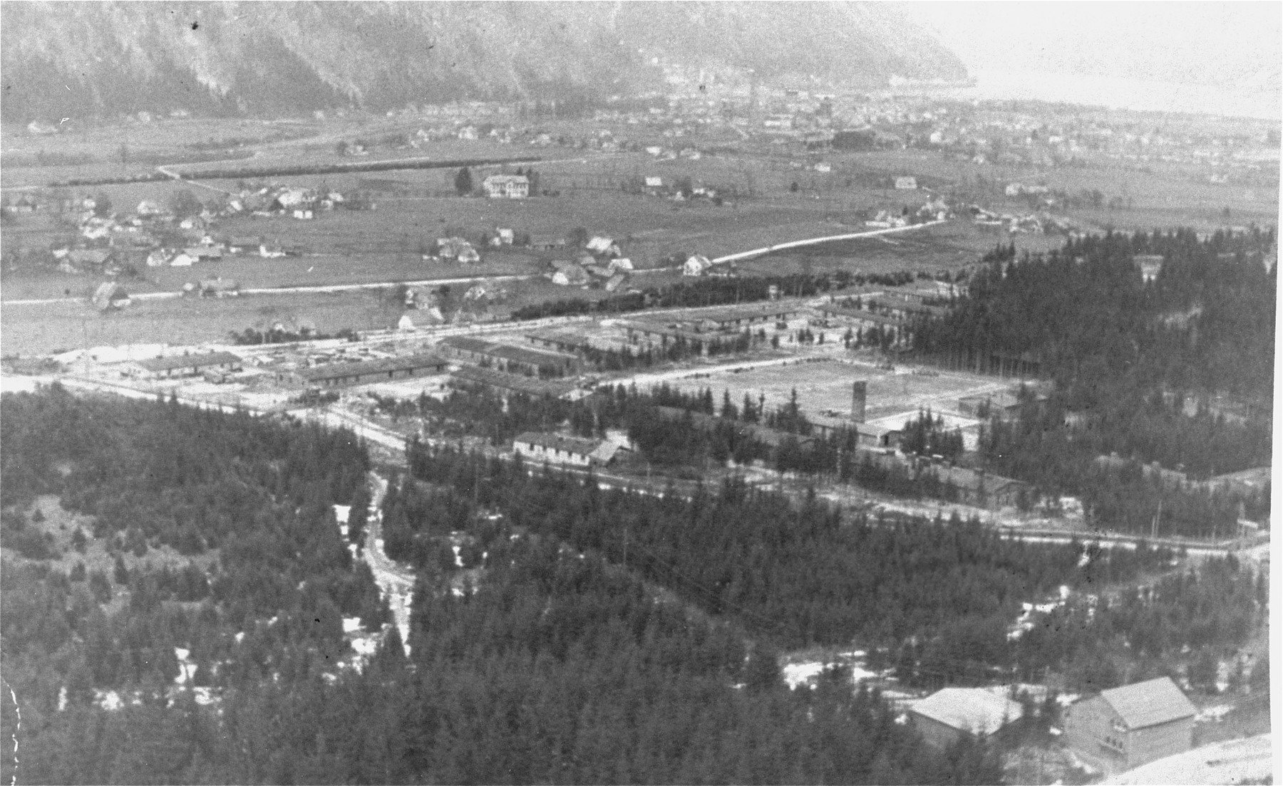 Aerial view of the Ebensee concentration camp.