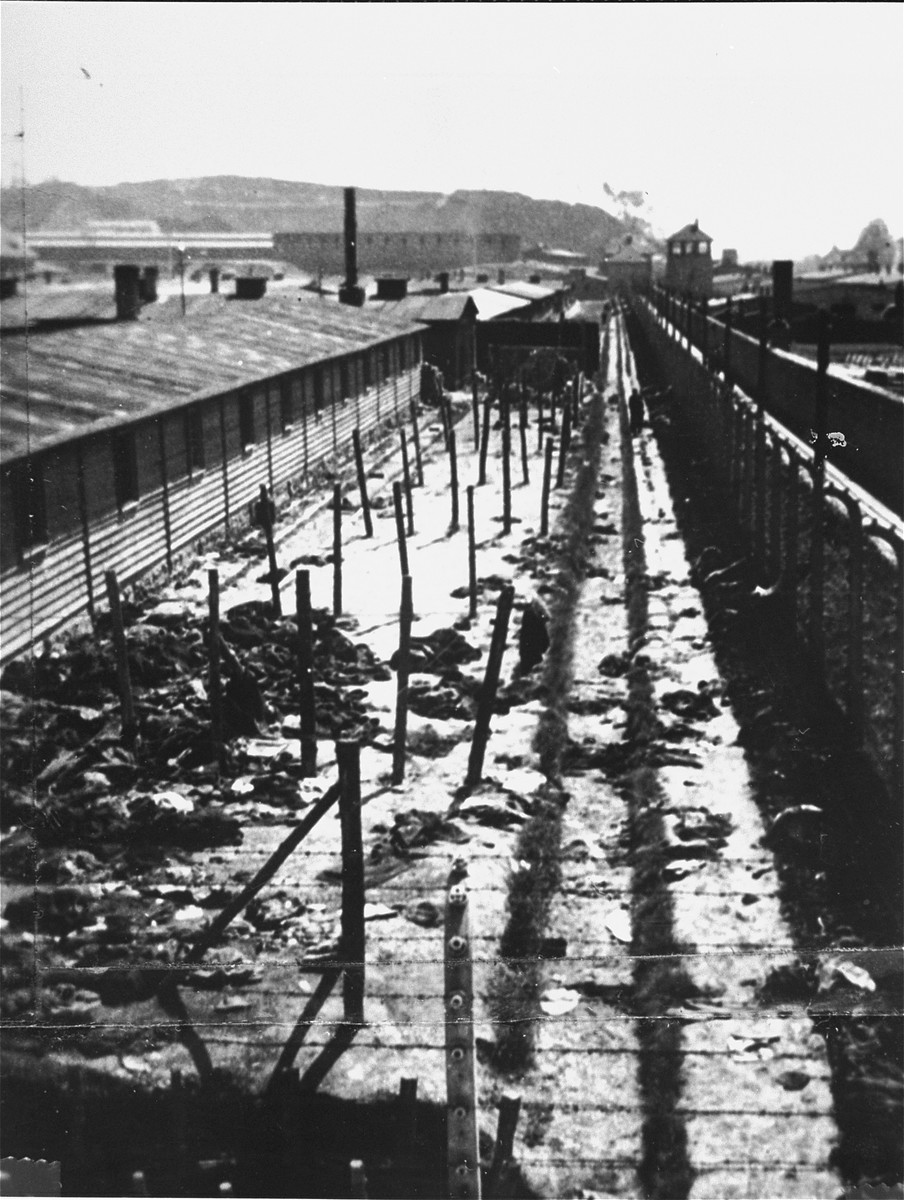 View of discarded prisoners' clothing in a section of the Gusen concentration camp.