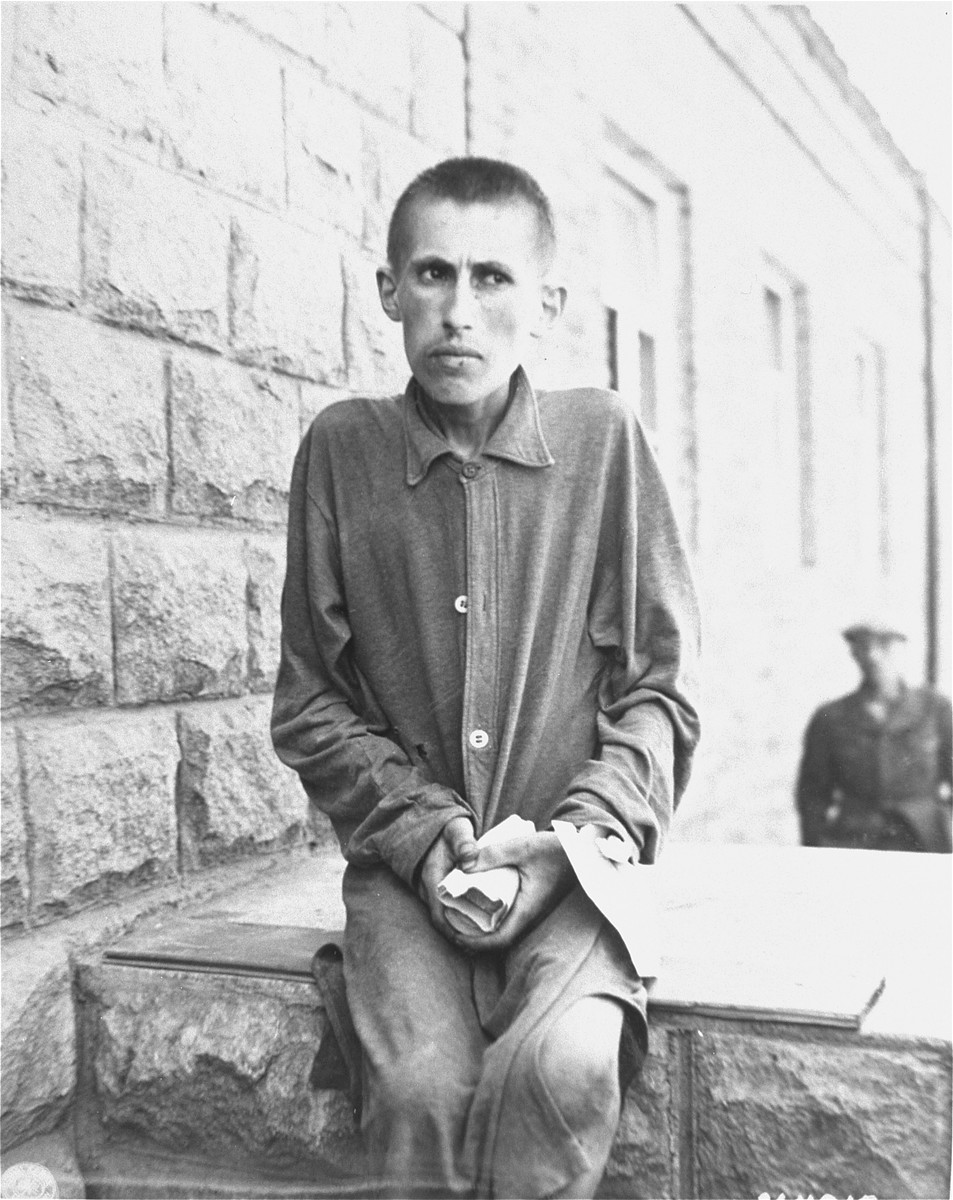 Close-up portrait of a survivor in Gusen shortly after the liberation of the camp.