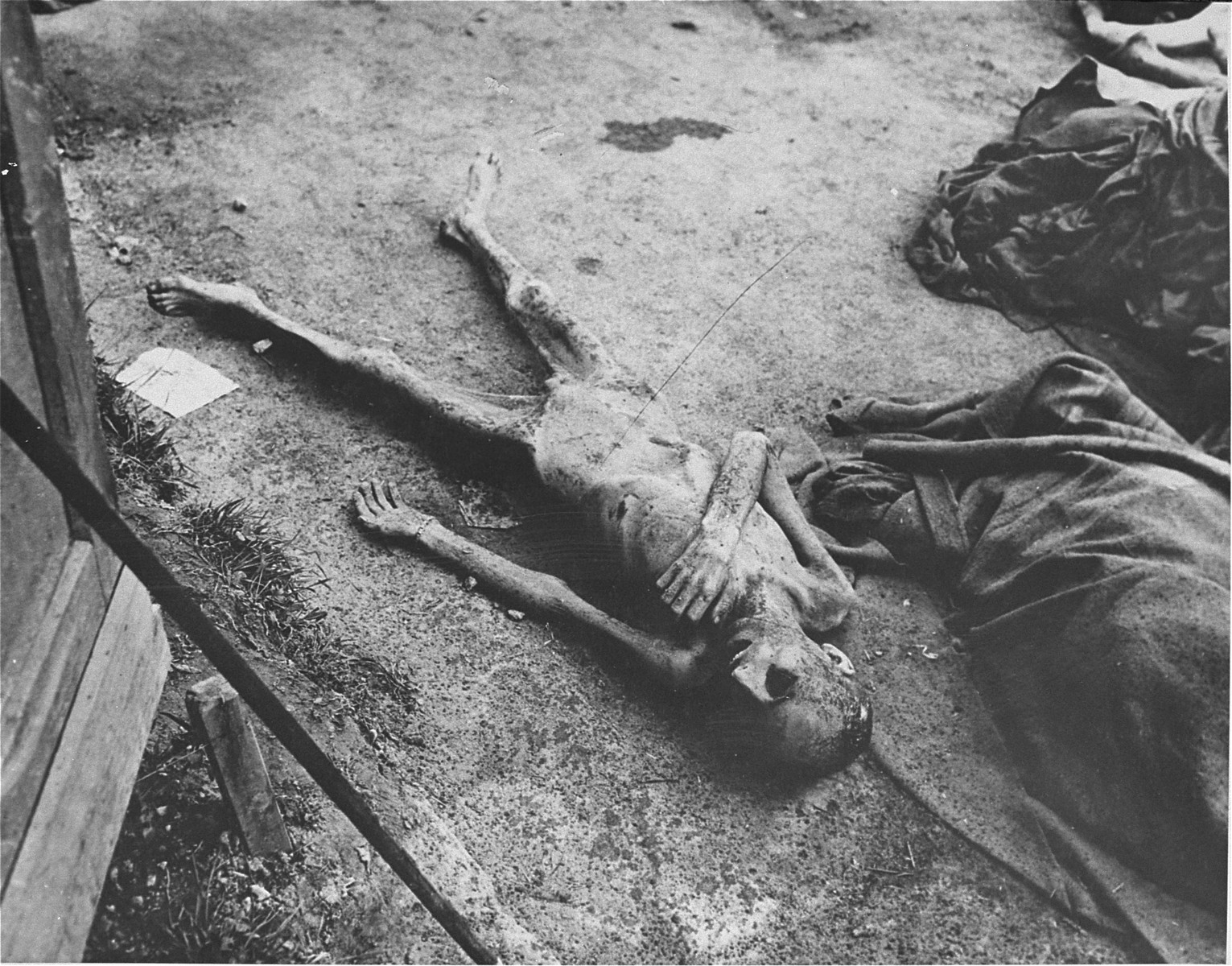 The decomposing body of a former prisoner in Gusen.  This corpse was removed from a store room where men had been thrown to die after becoming too weak to stand.