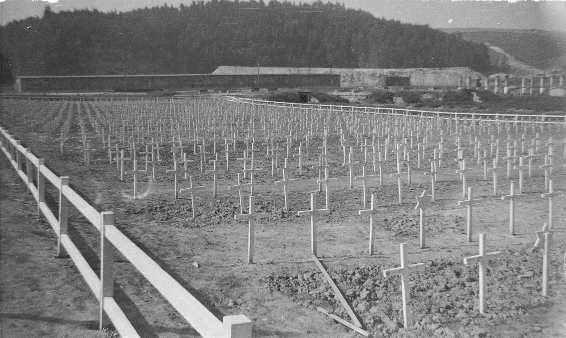 View of the cemetery in the Gusen concentration camp.