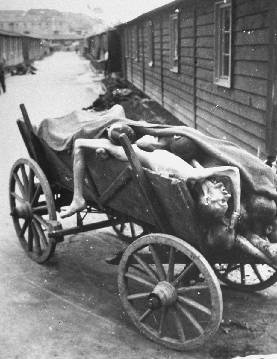 A cart laden with corpses in Gusen after liberation.