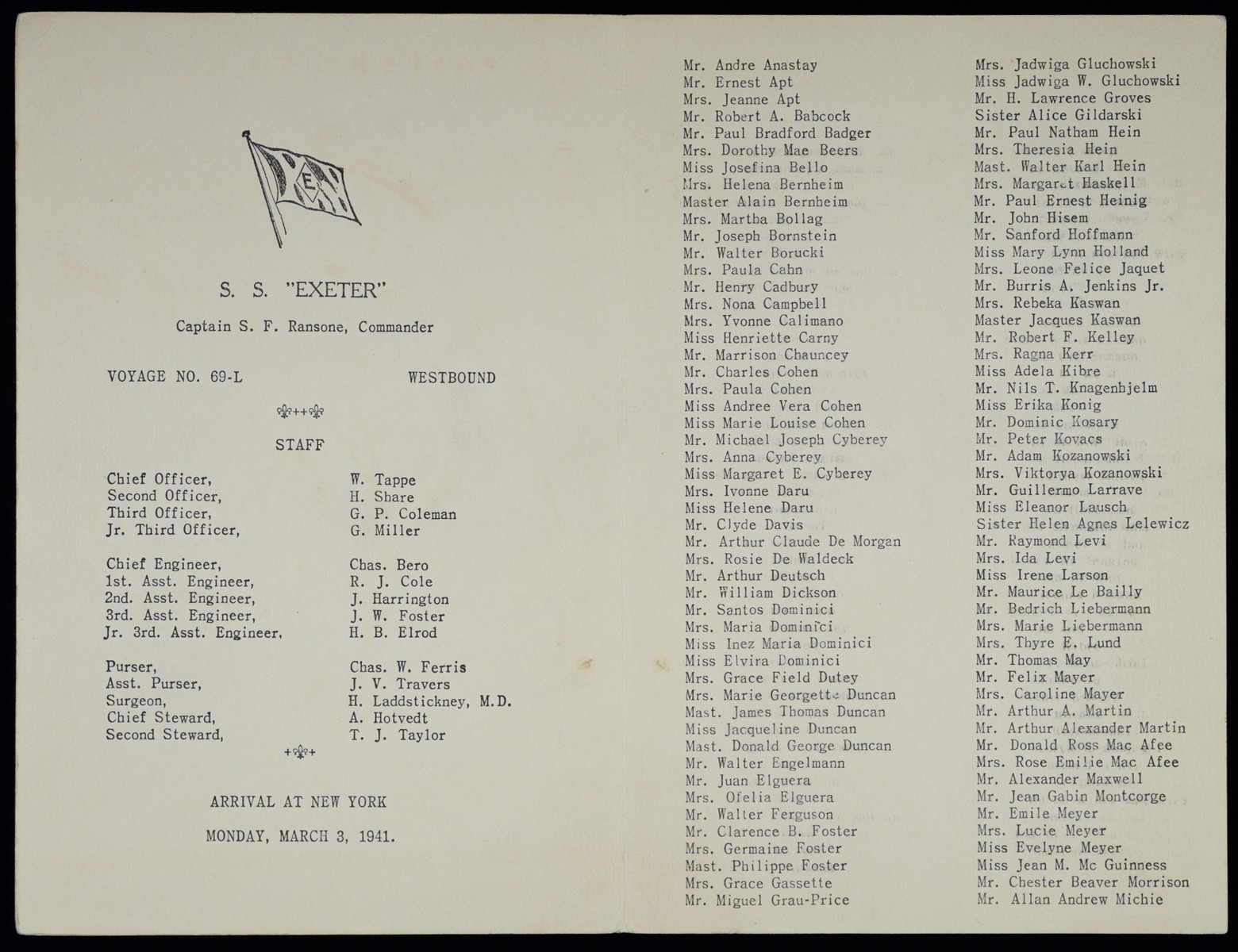 Passenger list of the SS Exeter sailing from Lisbon to New York on February 21, 1941.  Among those listed are five members of the Schadur family.