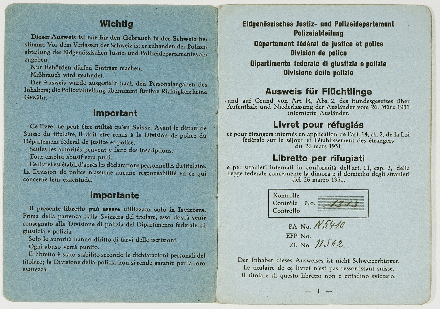 Refugee identification card issued to Edmund Dresner, a Jewish refugee, after his escape to Switzerland.