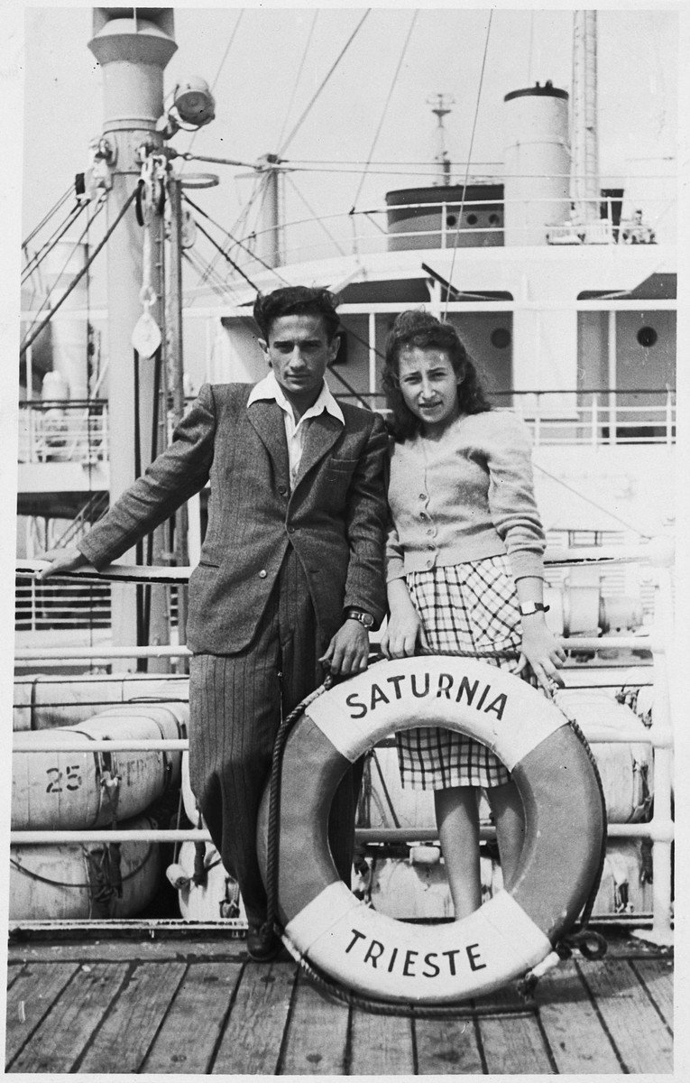 Oskar and Bel Pinkus pose on board the Saturnia en route to the United States.