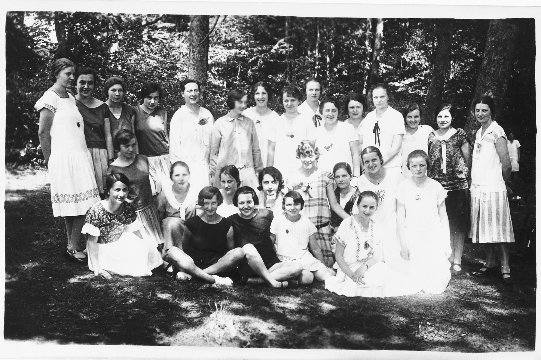 Group portrait of Jewish youth on an outing in Russia.  Among those pictured is Shura Mesherowsky.