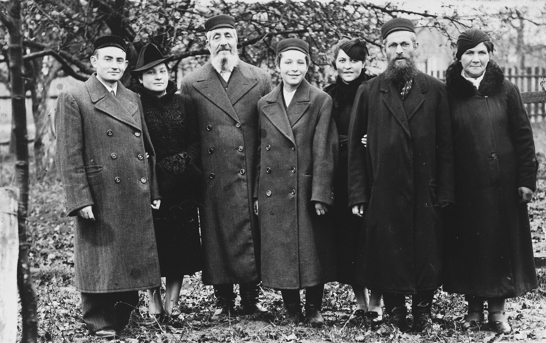 Group portrait of a family of religious Jews in prewar Zelow, Poland.