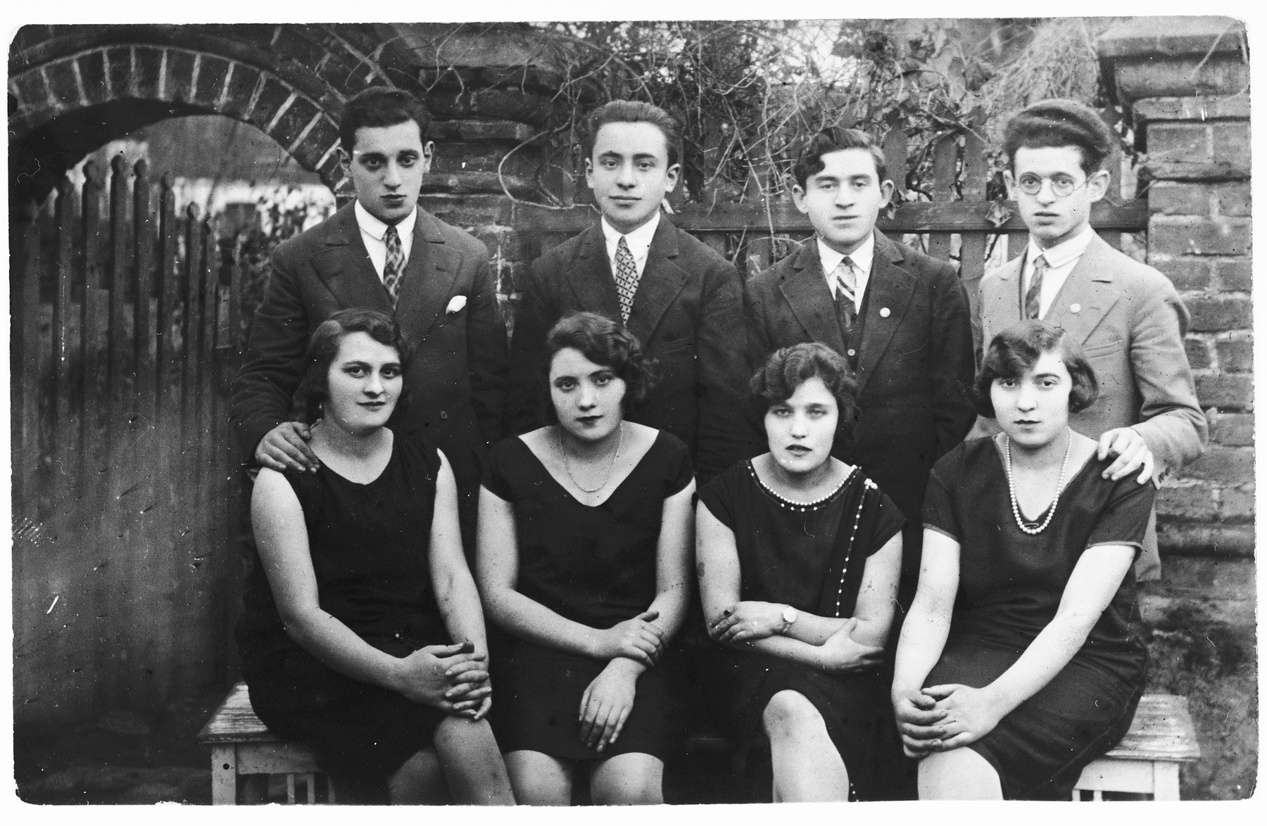Group portrait of four young couples in prewar Zelow.