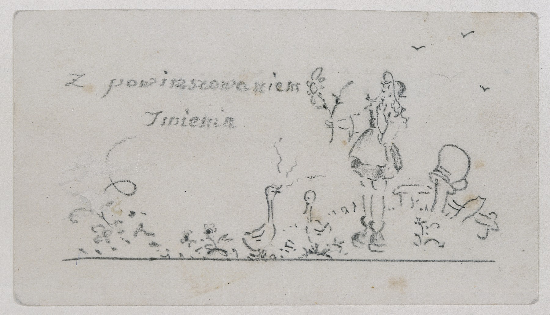 Greeting card given to Jadwiga Dzido on her name day by two fellow inmates of the Ravensbrueck concentration camp.