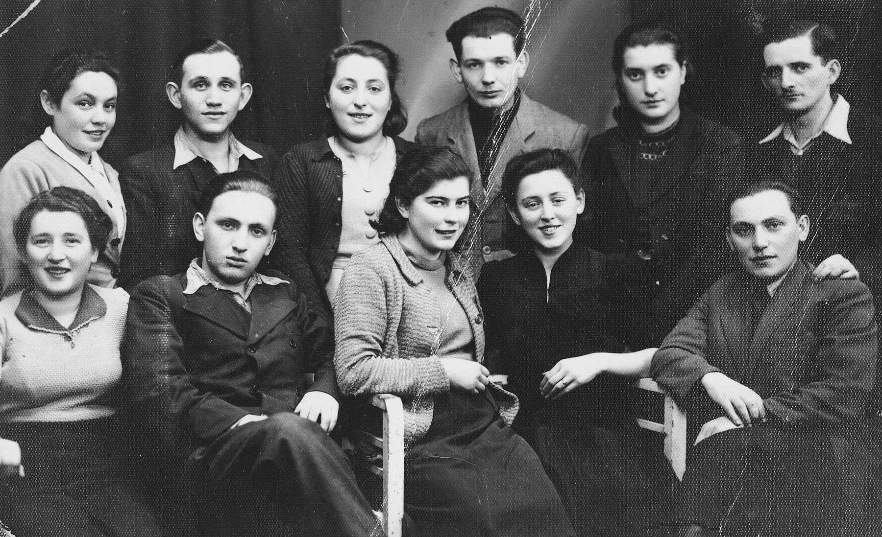 Group of Jewish internees in the Tittmoning internment camp where they were kept by virtue of holding foreign passports.    Cwi Rosenwein held a Paraguayan passport.