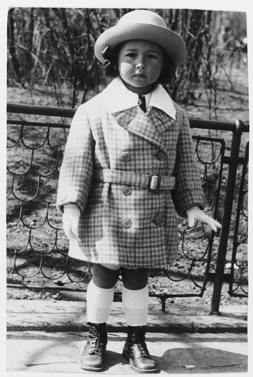 Close-up portrait of three-year-old Trude Neumann.