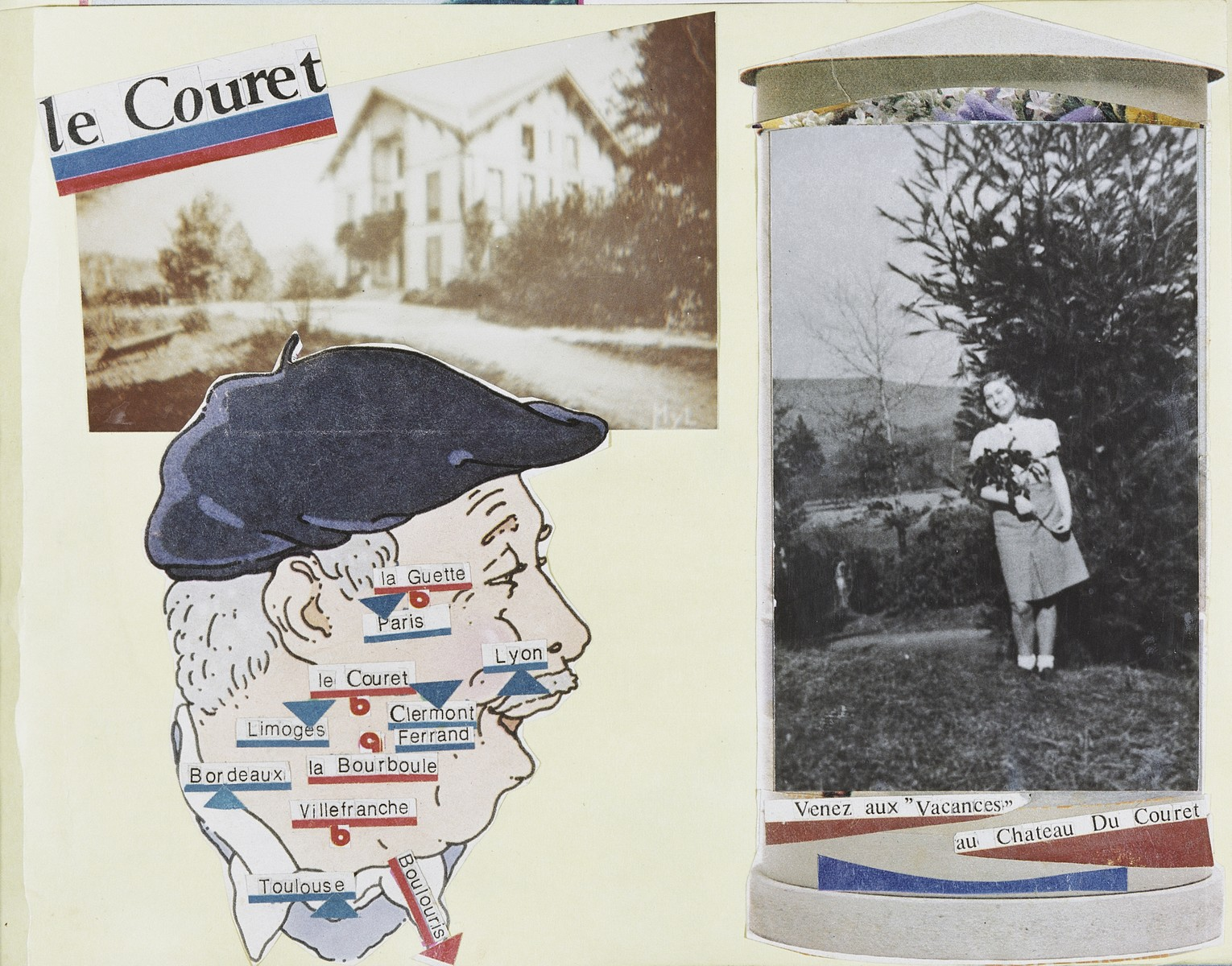 Page of a photo album showing Gisela Edel in the Couret children's home as well as a map in the shape of a Frenchman's face, showing where she hid during the war.
