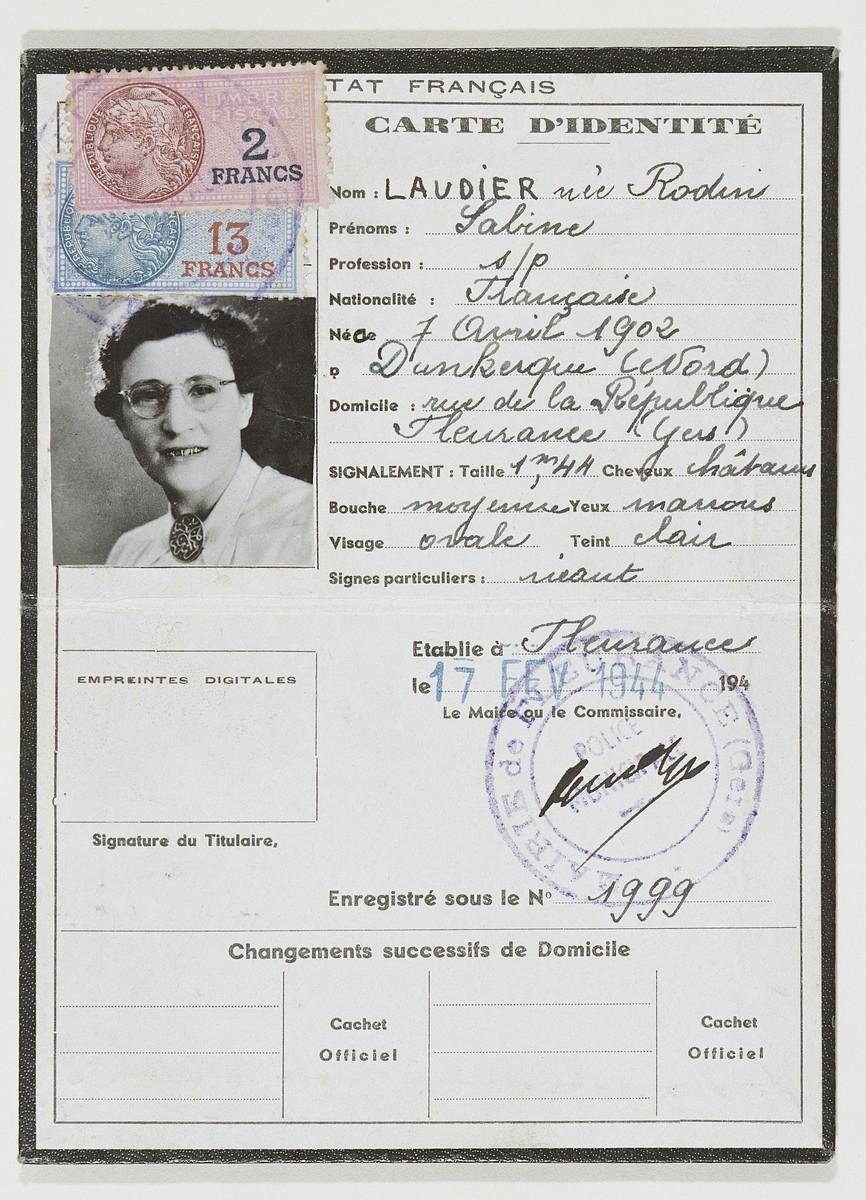 False identification paper issued to Shifra Lichtenstein under the alias Sabine Laudier nee Rodin.