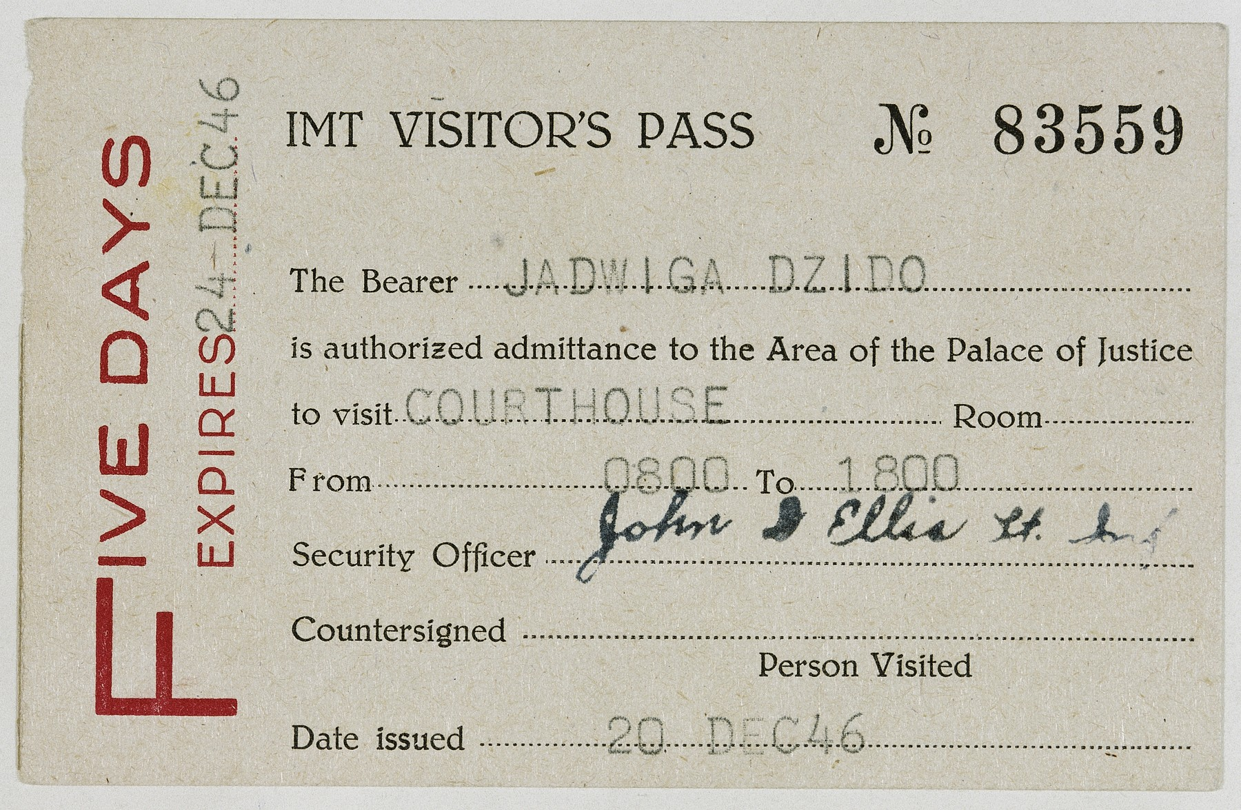 Entry pass for Jadwiga Dzido to attend a session of the Nuremberg Medical Case trial, where she also appeared as a witness.