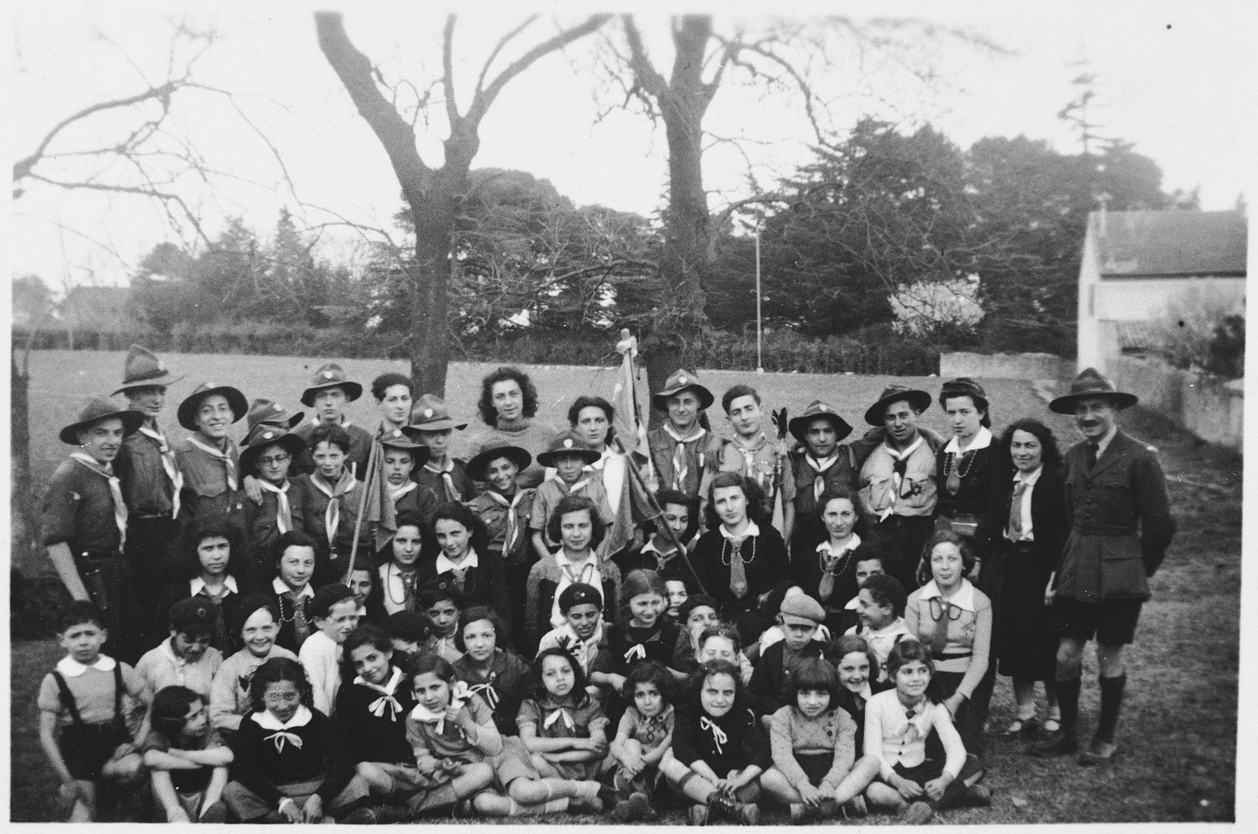 Group portrait of members of the Eclaireurs Israelites de France (French Jewish Scouts).