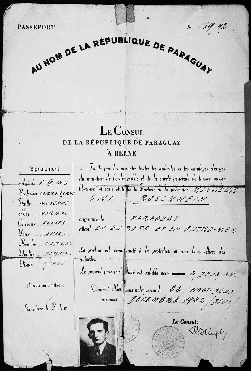 Paraguayan passport issued to Cwi Rosenwein by the Paraguayan consulate in Bern, Switzerland and valid for a two year period.    By virtue of holding this passport, Cwi Rosenwein was sent to the Tittmoning internment camp rather than a regular concentration camp.
