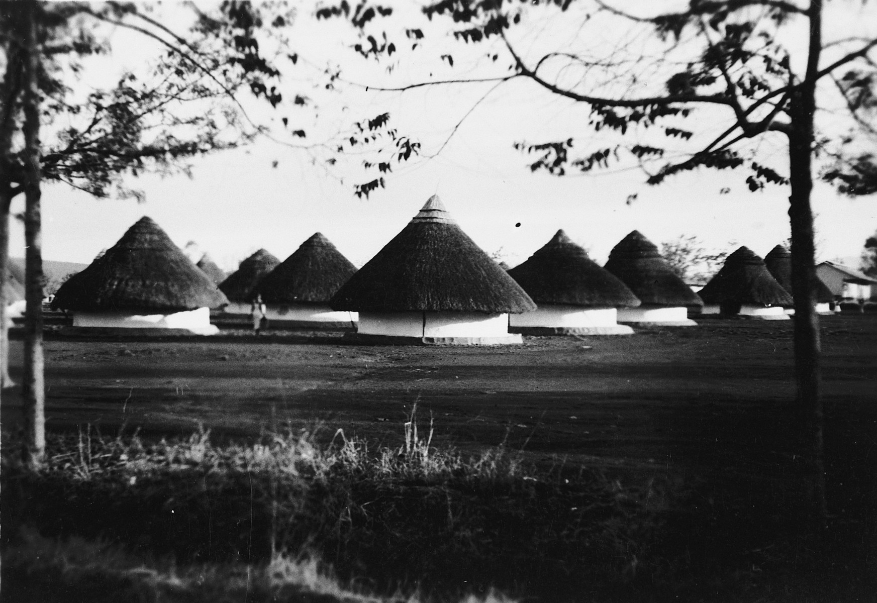 View of thatched roof buildings of the Kisumu police station.