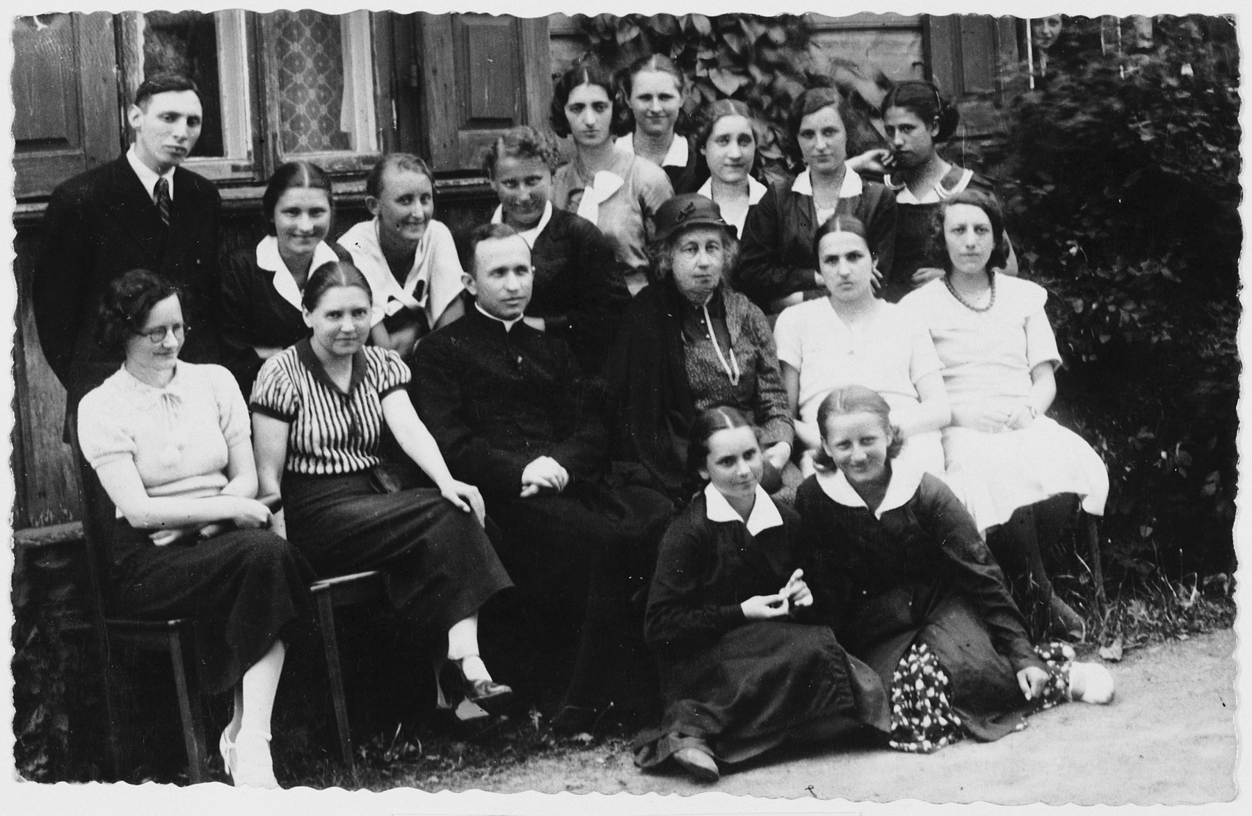 Group portrait of Polish and Jewish students and their teachers at a gymnasium in Lukow, Poland.  Among those pictured is Zophia Szlendak (front row, left) and Jadzia Dzido.  During the German occupation both girls joined the resistance. Zophia was subsequently killed by the Gestapo.