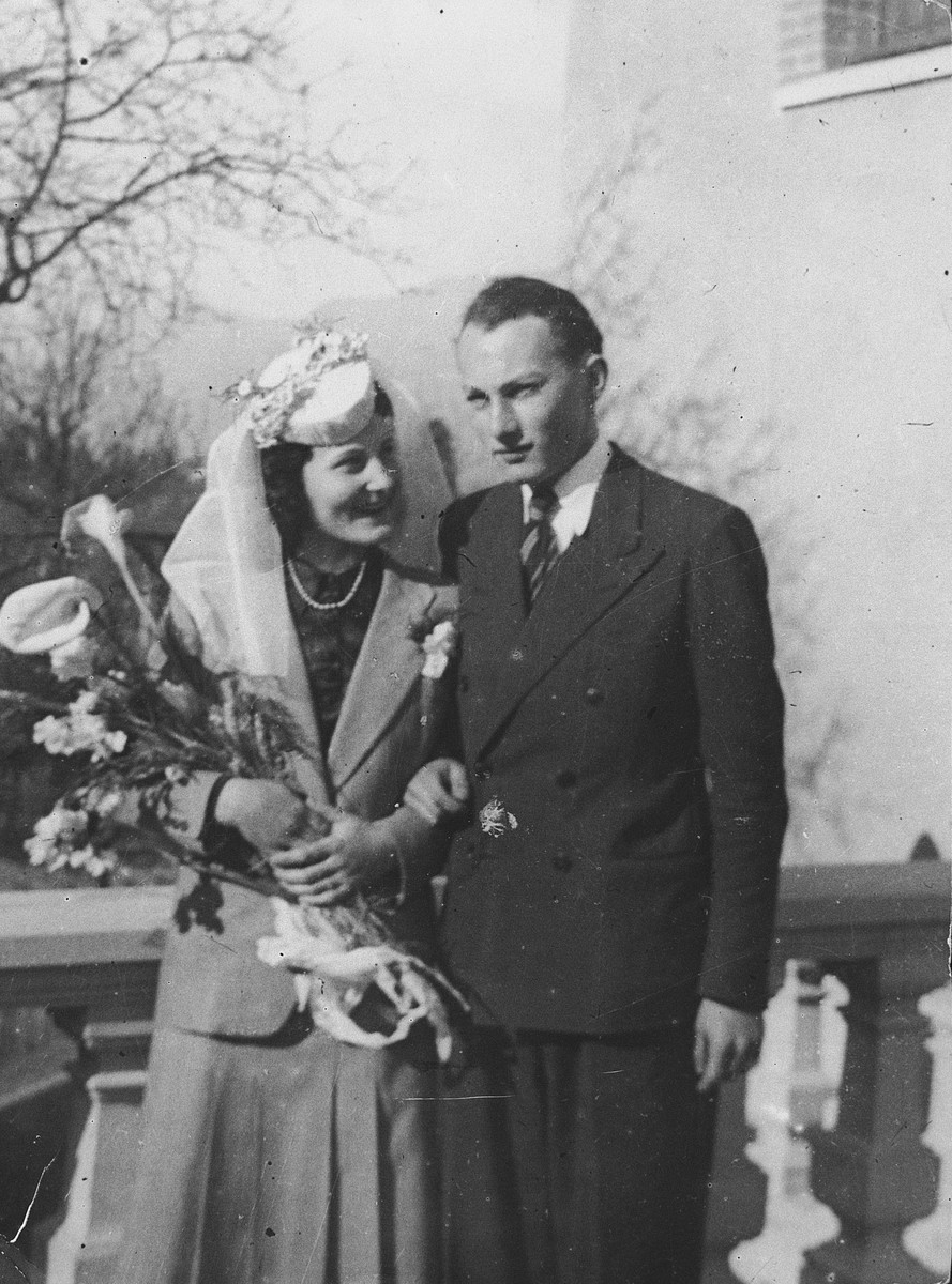 Wedding portrait of French Zionist resistance leader Otto Giniewski and his bride Lili.